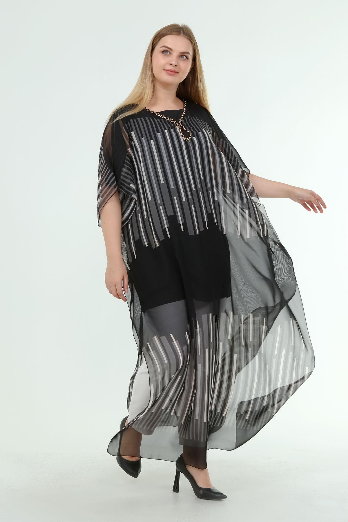 Kadın Büyük Beden Siyah Desenli Şifon Astarlı Elbise  A1-4055