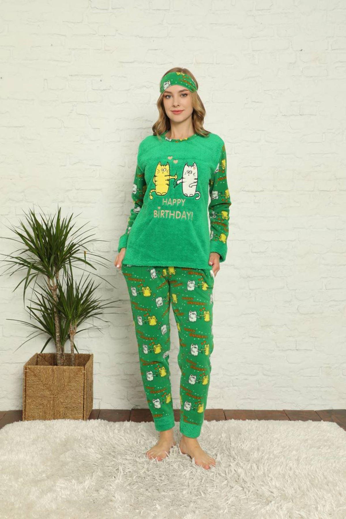 Kadın Desenli Yeşil Polar Pijama Takımı 14F-20022-1