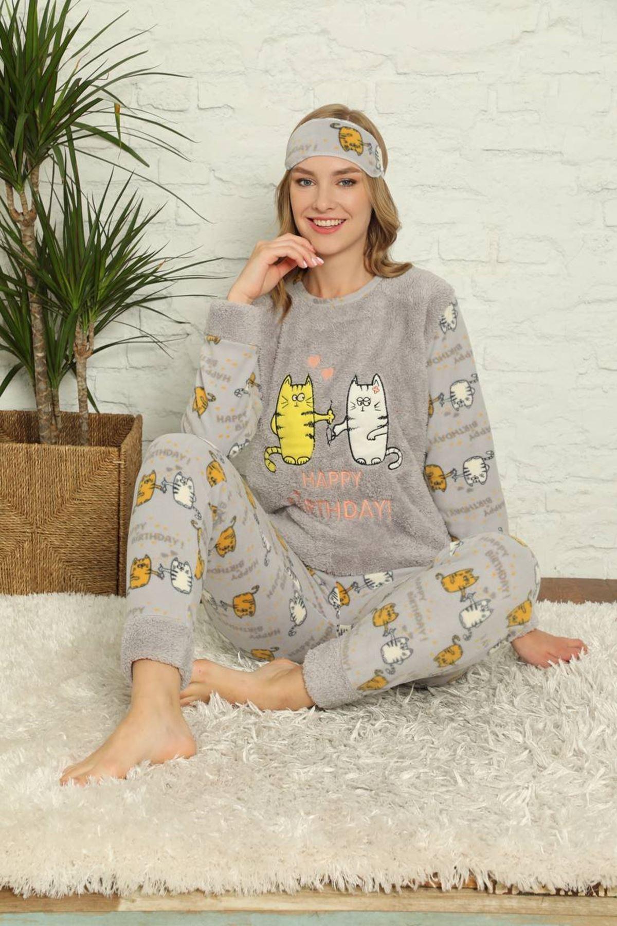 Kadın Desenli Gri Polar Pijama Takımı 14F-20022