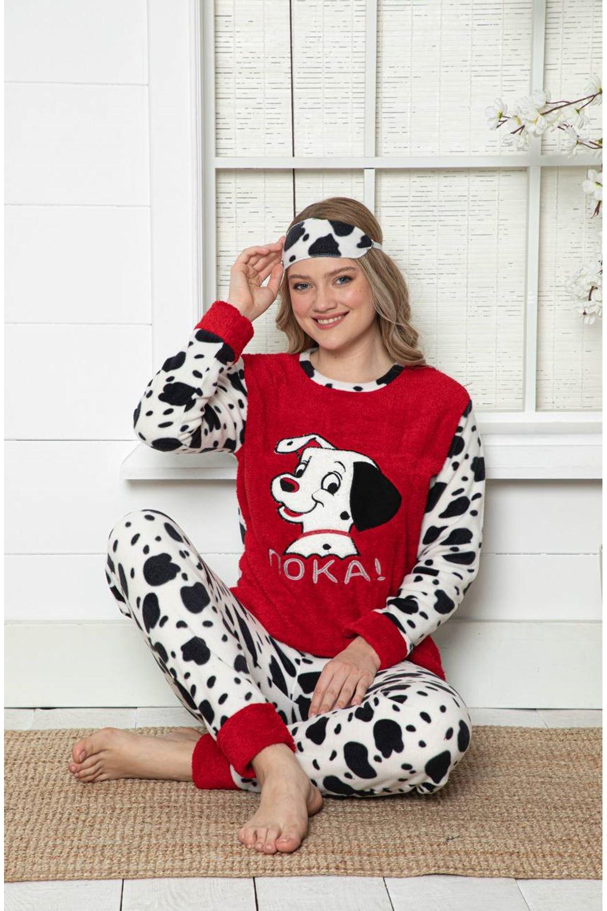 Kadın Desenli Kırmızı Kışlık Polar Pijama Takımı 14F-20003-1