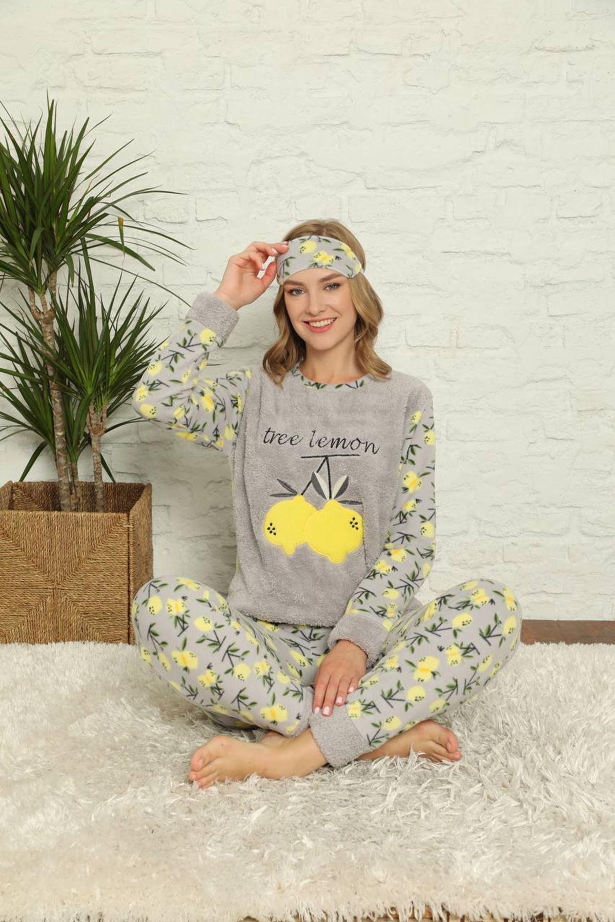 Kadın Desenli Kışlık Gri Polar Pijama Takımı 13E-20020