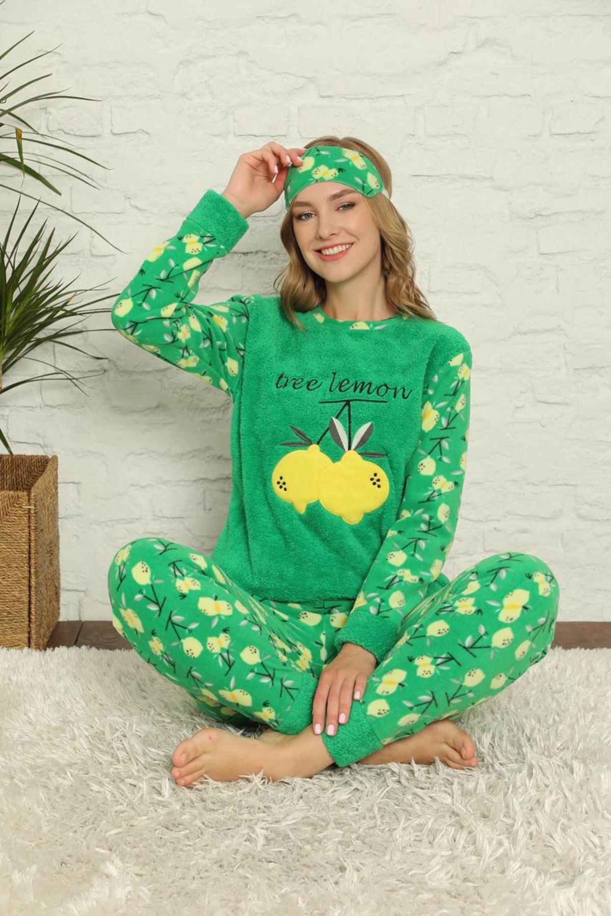 Kadın Desenli Kışlık Yeşil Polar Pijama Takımı 13E-20020-1