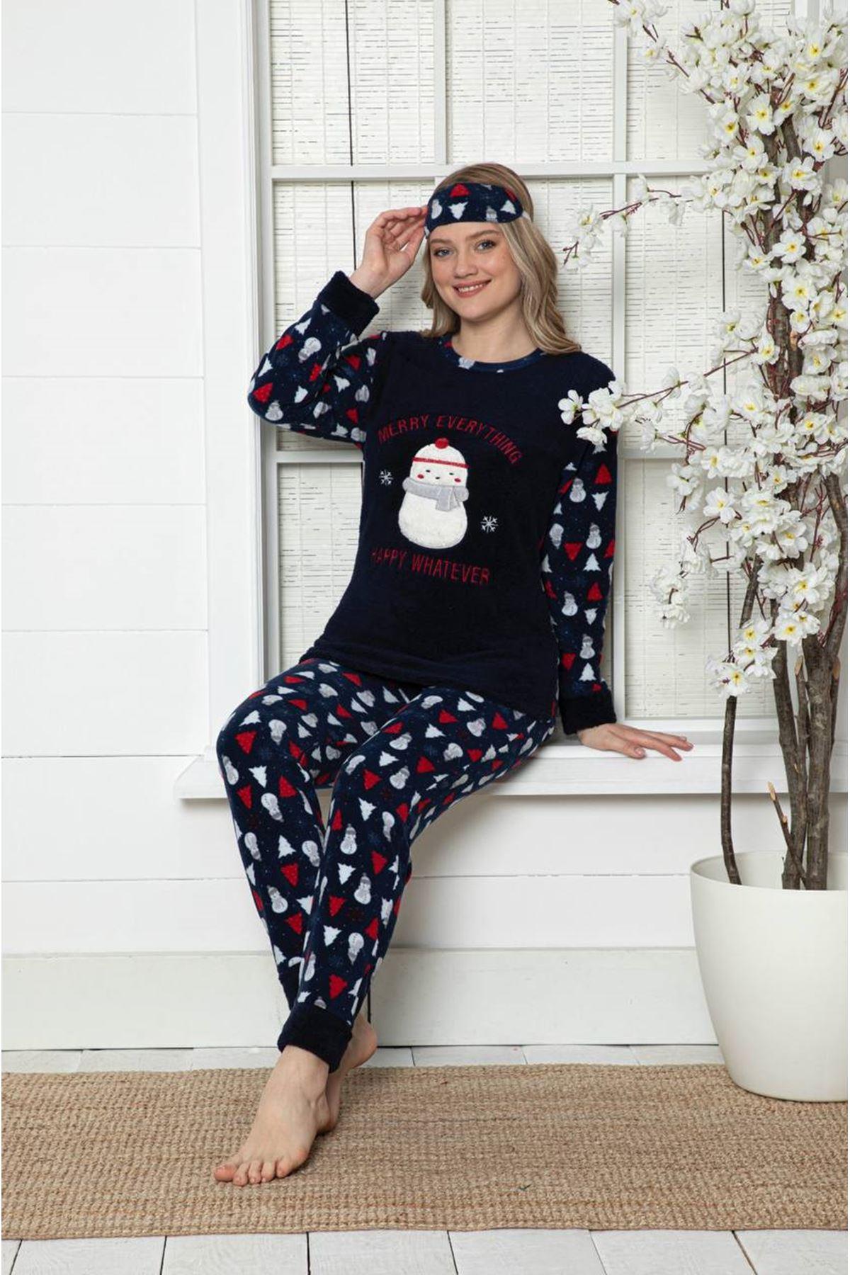 Kadın Yeniyıl Desenli Lacivert Kışlık Polar Pijama Takımı 9F-20002-1