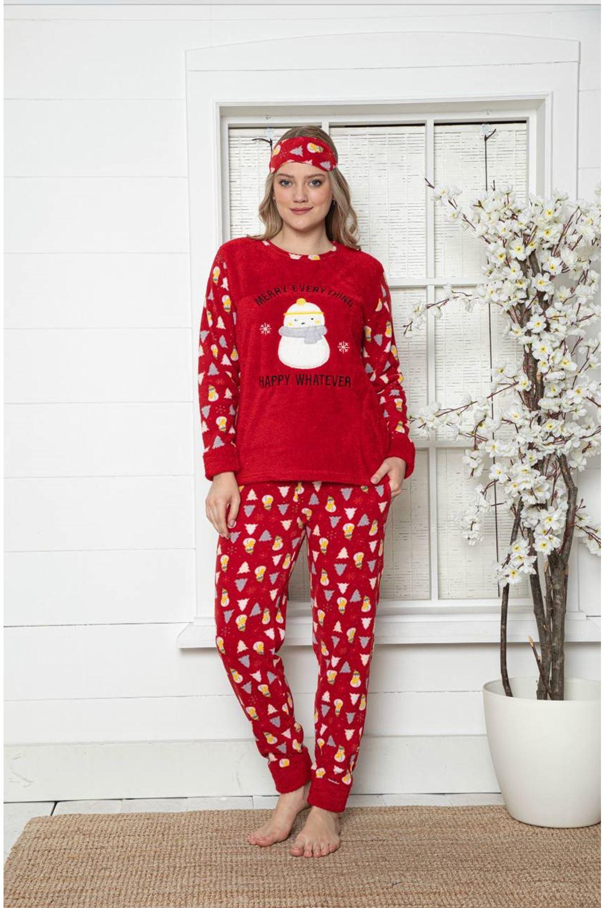 Kadın Yeniyıl Desenli Kırmızı Kışlık Polar Pijama Takımı 9F-20002