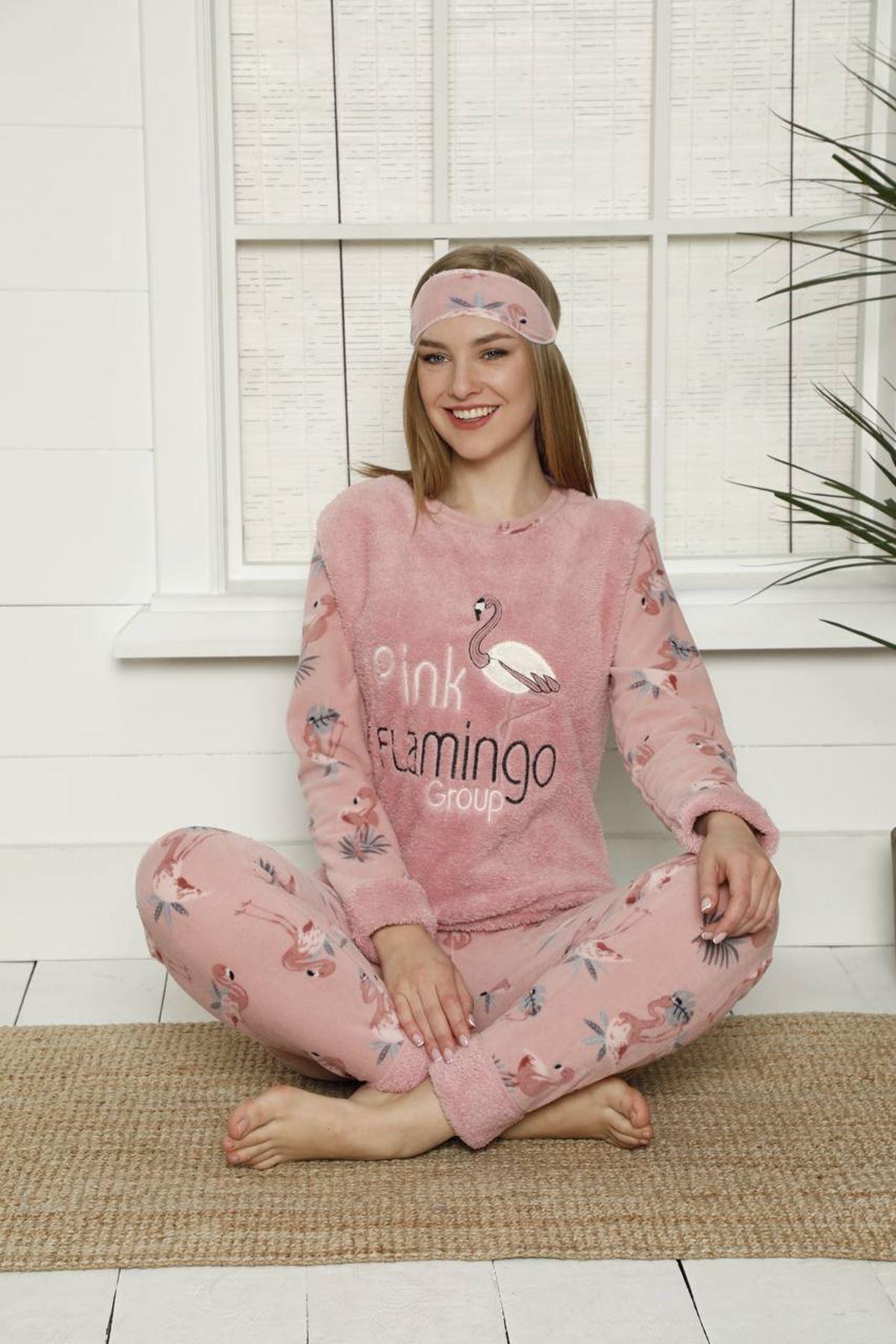 Kadın Flamingo Desenli Pembe Kışlık Polar Pijama Takımı 11F-2000