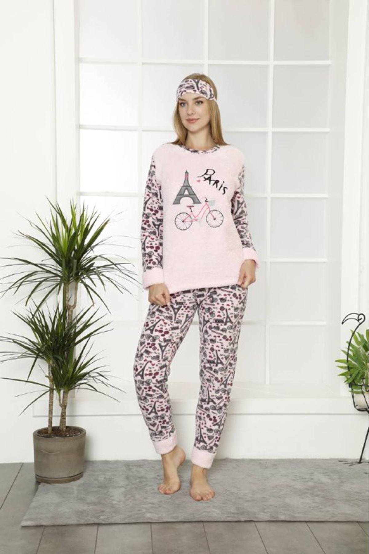 Kadın Pembe Desenli Kışlık Polar Pijama Takımı 11F-20008-1