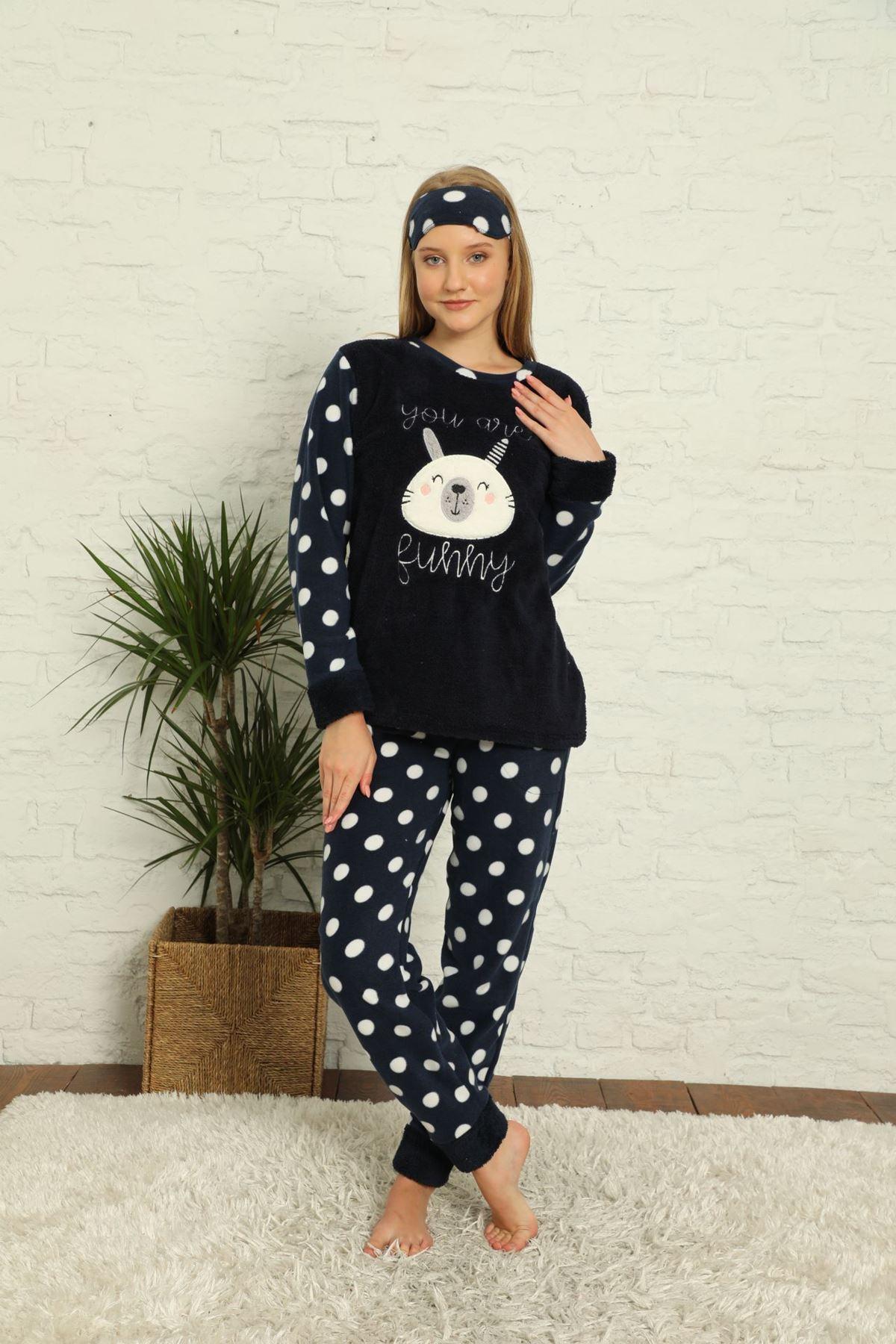 Kadın Puantiyeli Desenli Lacivert Kışlık Polar Pijama Takımı 12F-20036