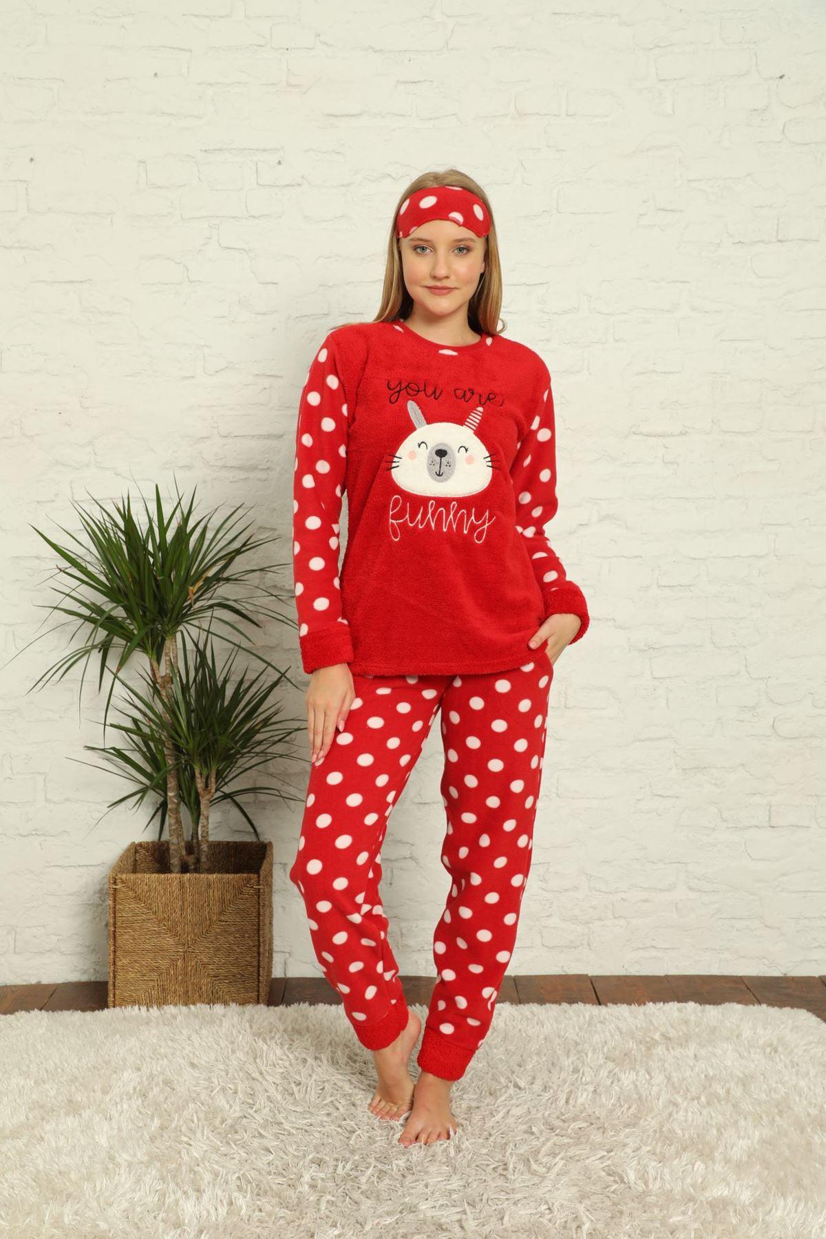 Kadın Puantiyeli Desenli Kırmızı Kışlık Polar Pijama Takımı 11F-20036-1