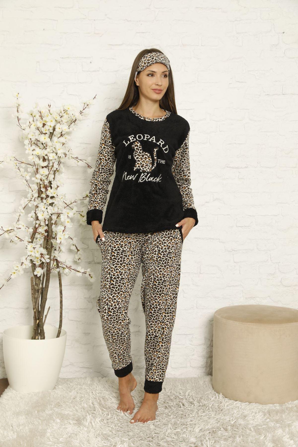 Kadın Siyah Leopar Desenli Kışlık Polar Pijama Takımı 8F-20042