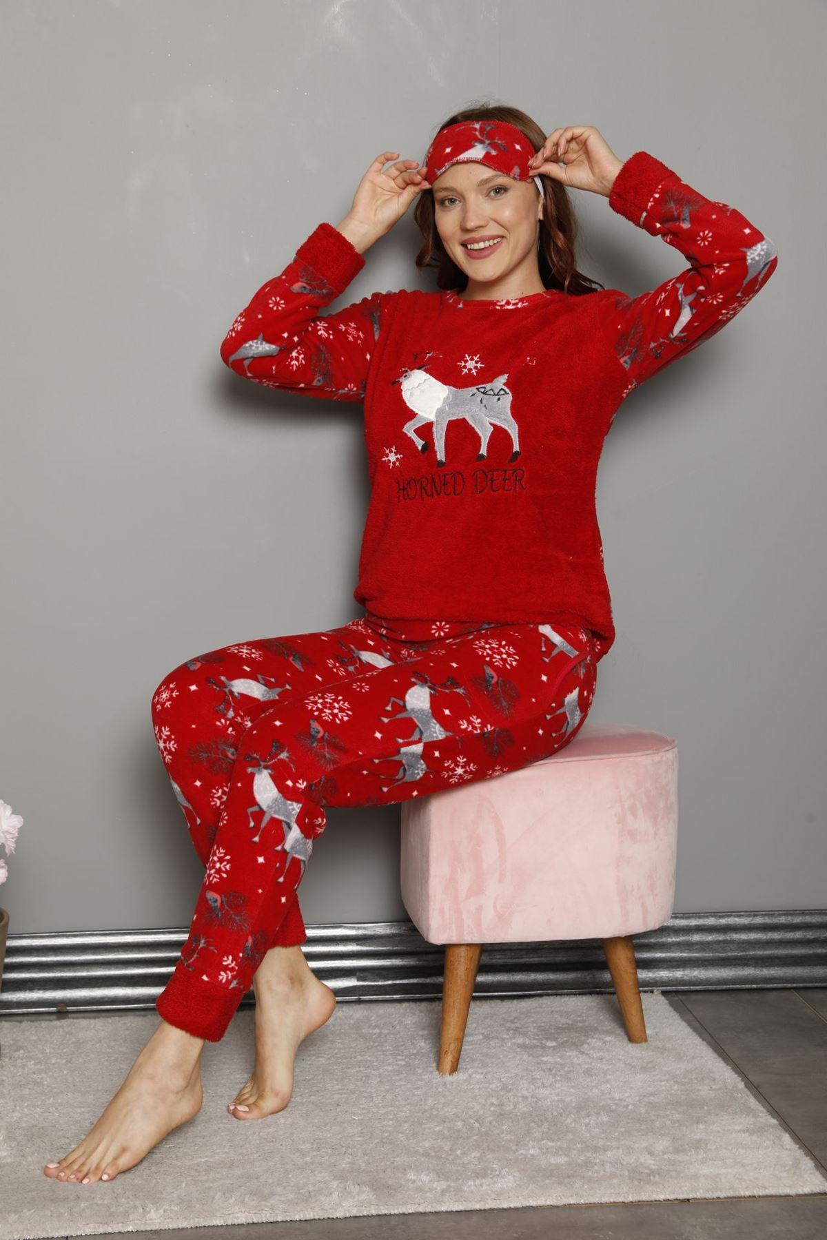 Kadın Desenli Kırmızı Kışlık Polar Pijama Takımı 11F-20047
