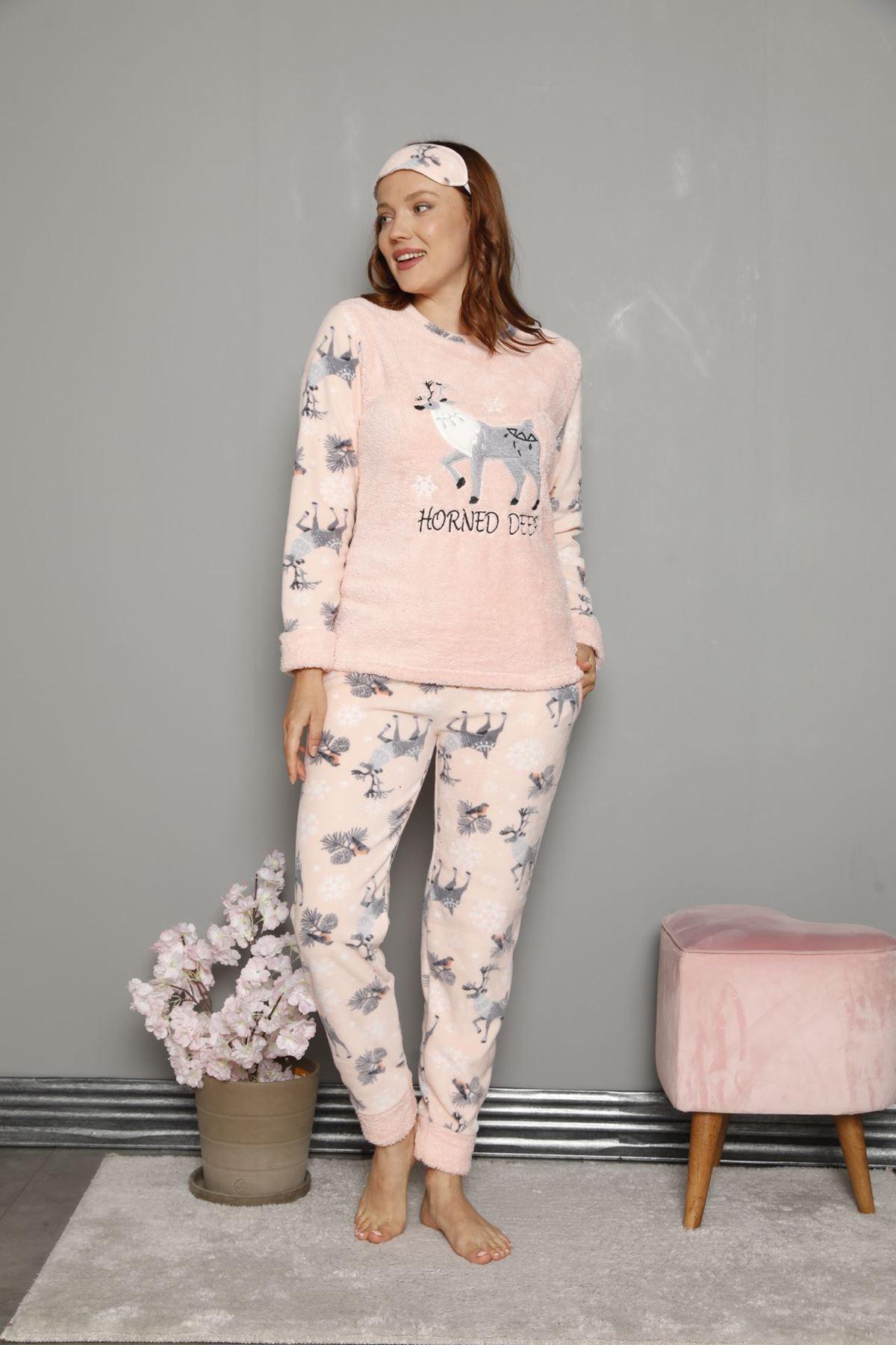 Kadın Desenli Somon Pembe Kışlık Polar Pijama Takımı 11F-20047-1