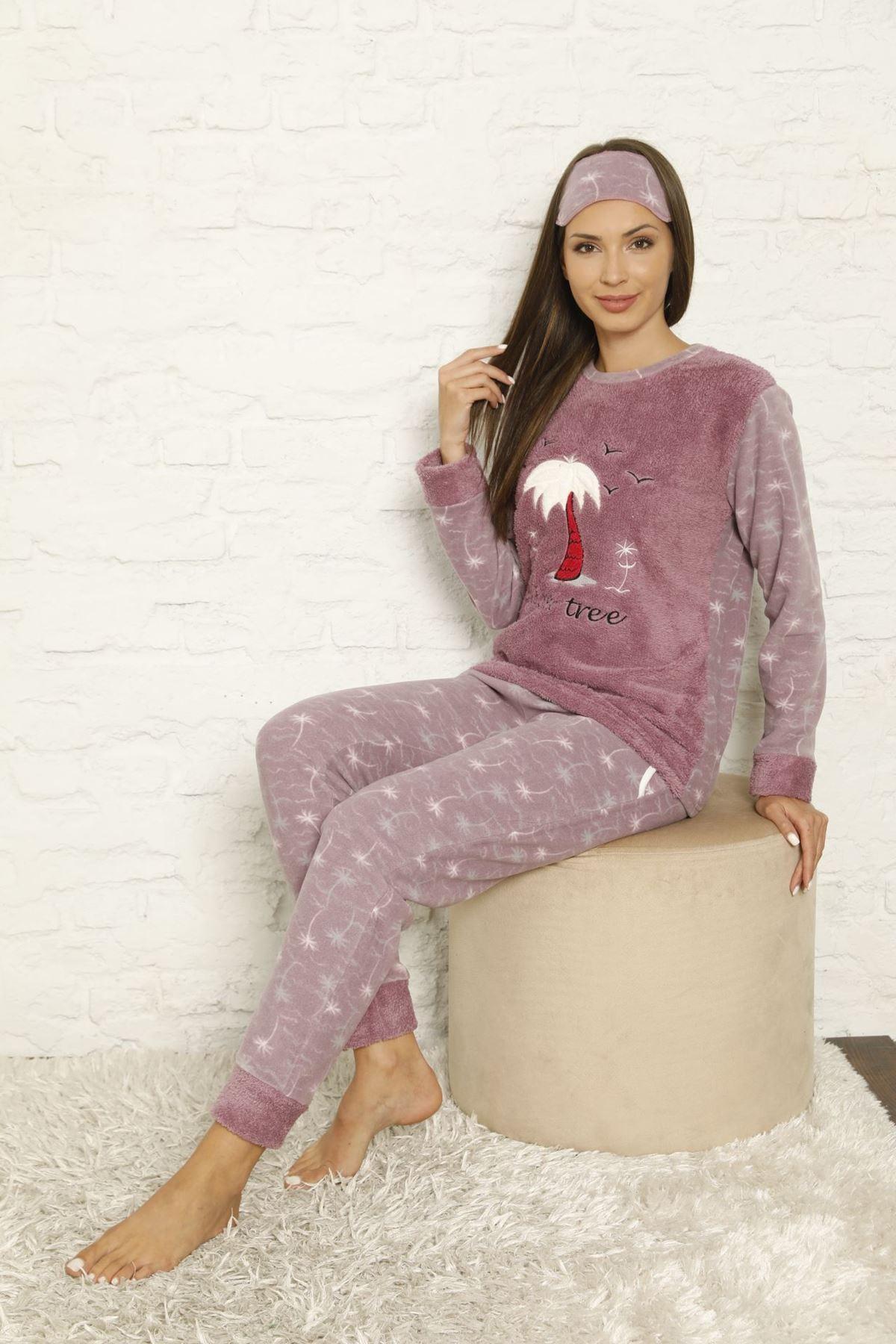 Kadın Mor Desenli Kışlık Polar Pijama Takımı 13C-20041