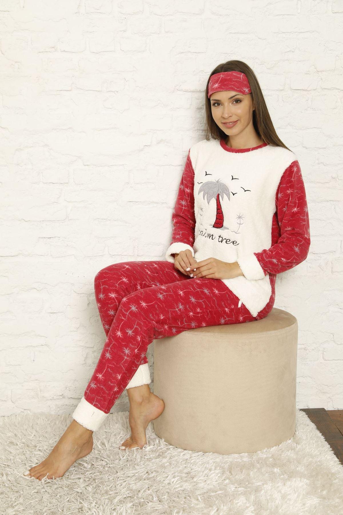 Kadın Ekru Pembe Desenli Kışlık Polar Pijama Takımı 12F-20041-1