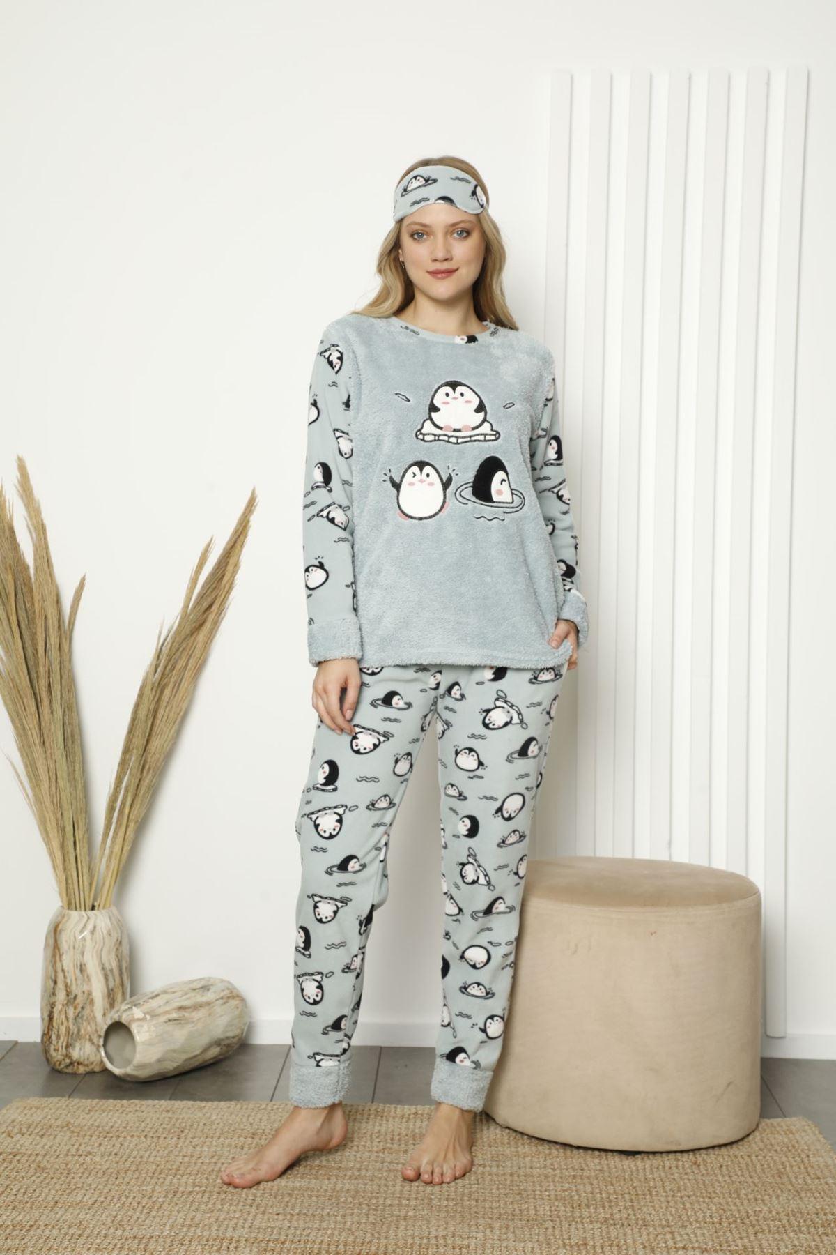 Kadın Mint Desenli Kışlık Polar Pijama Takımı 13E-20049-1