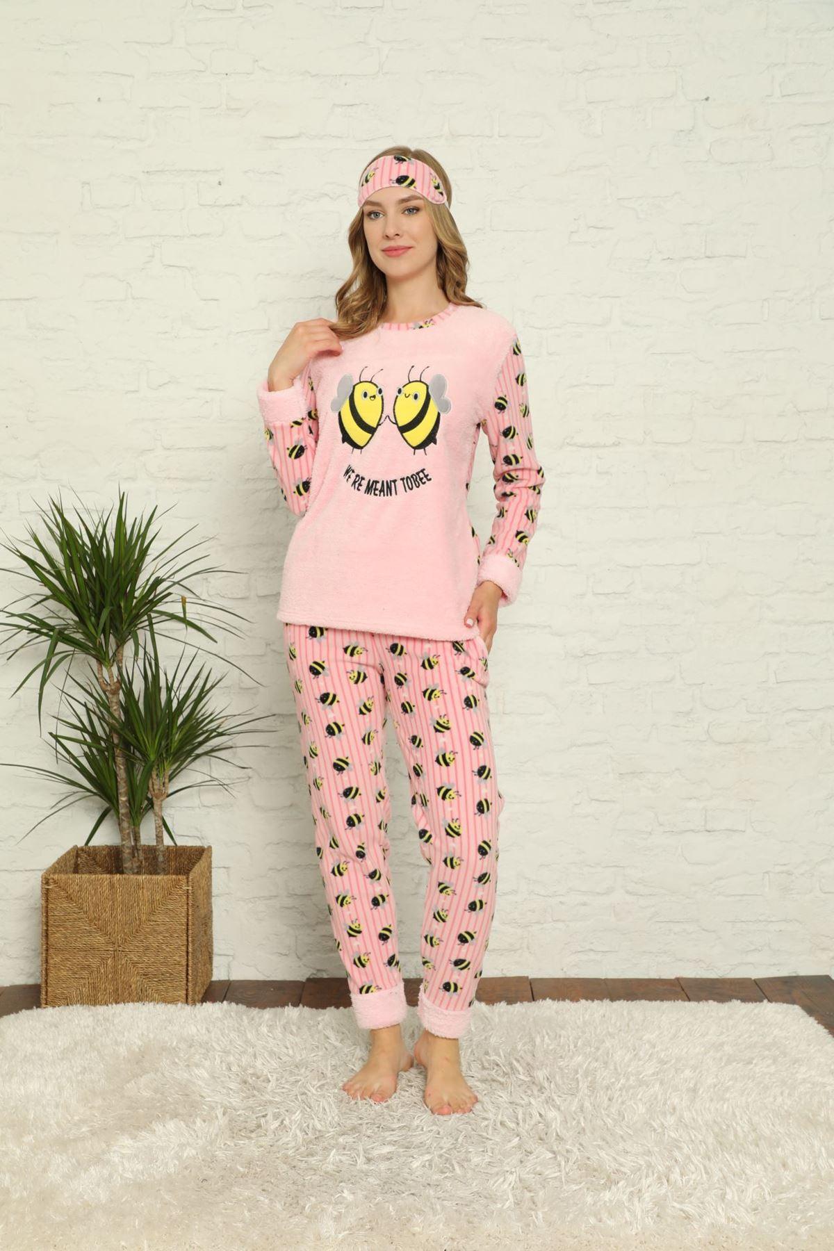 Kadın Pembe Desenli Kışlık Polar Pijama Takımı 13D-20021