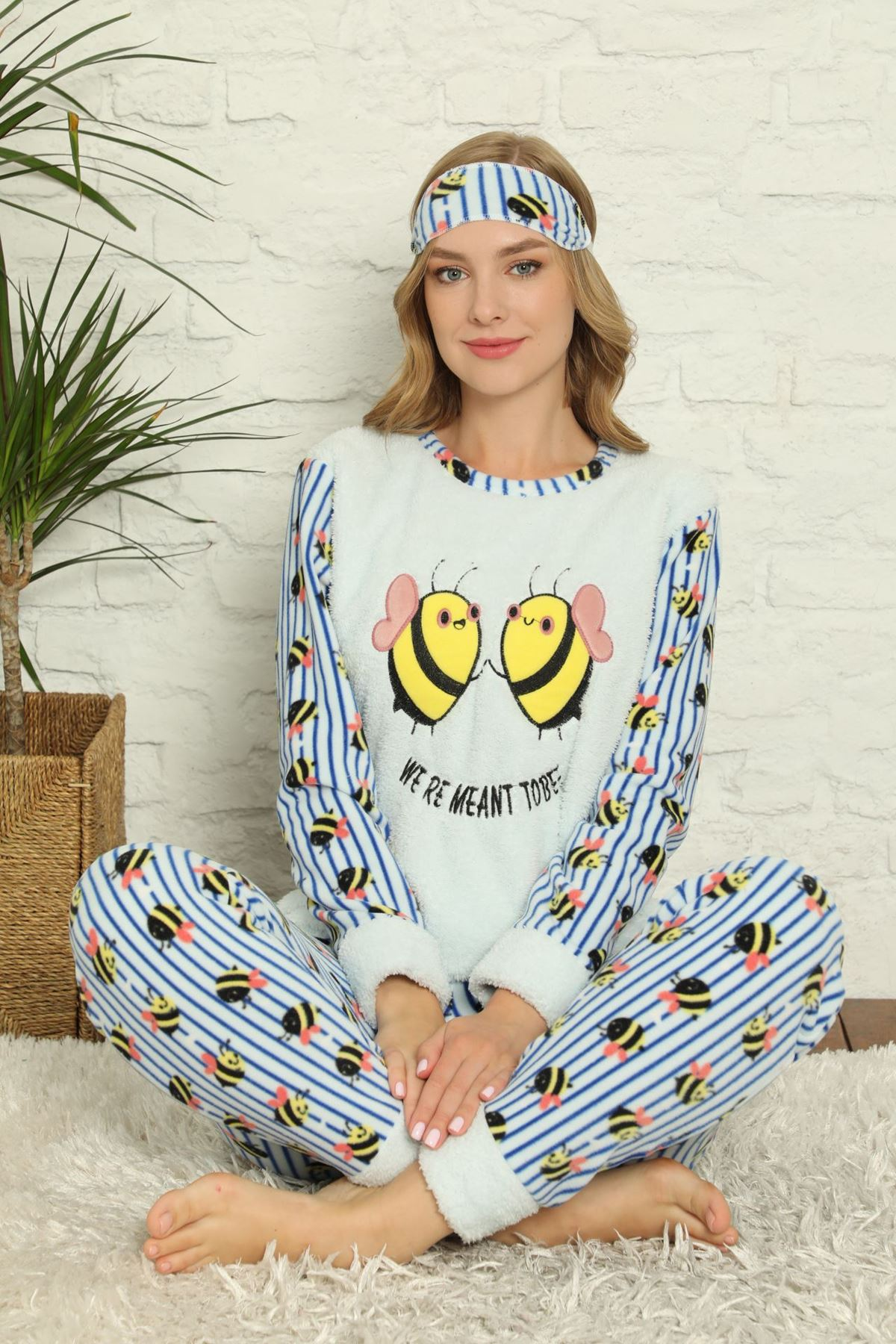 Kadın Mavi Desenli Kışlık Polar Pijama Takımı 15E-20021-1