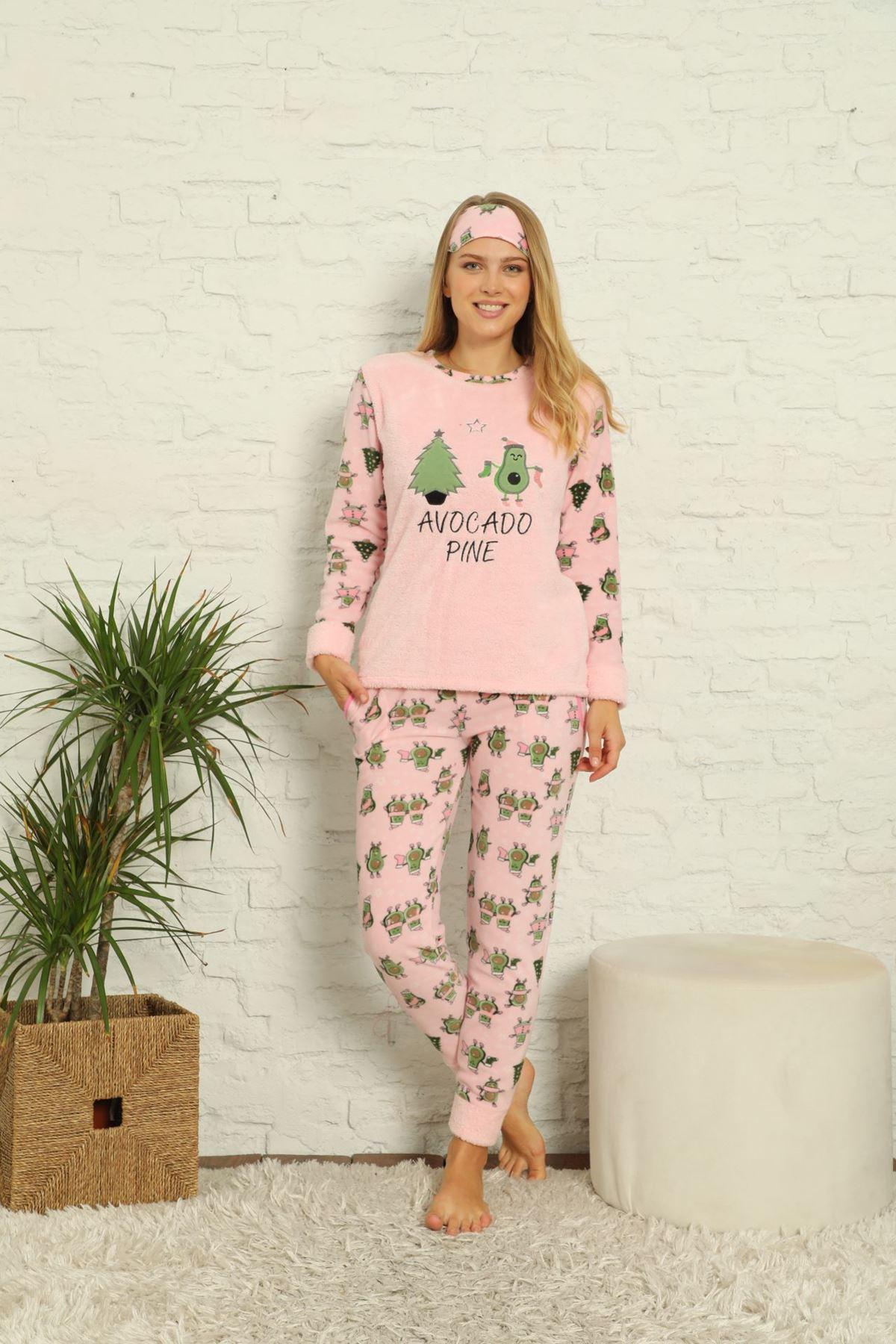Kadın Pembe Desenli Kışlık Polar Pijama Takımı 13K-20057