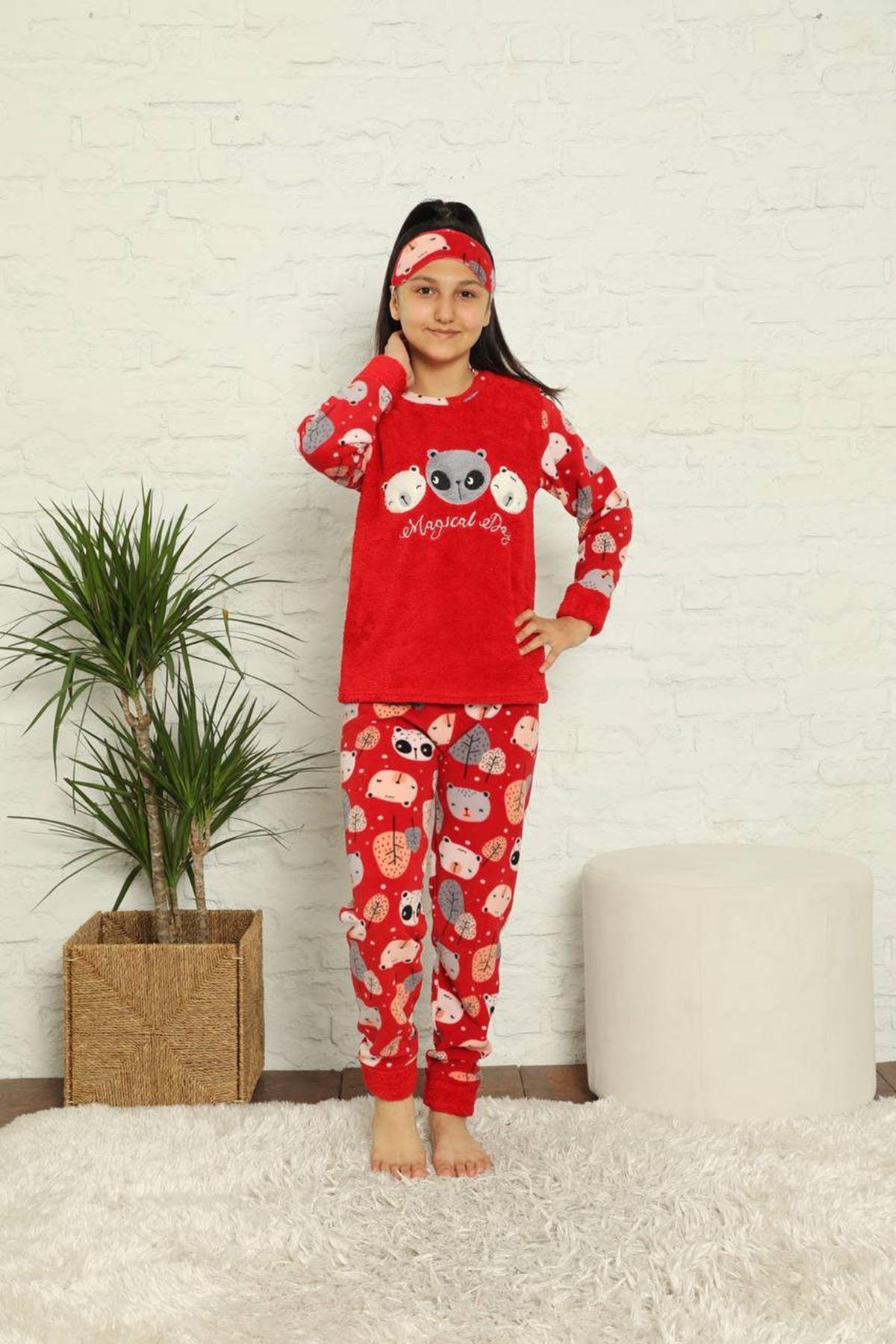 Kız Çocuk Kırmızı Desenli Kışlık Polar Pijama Takımı 13F-20024