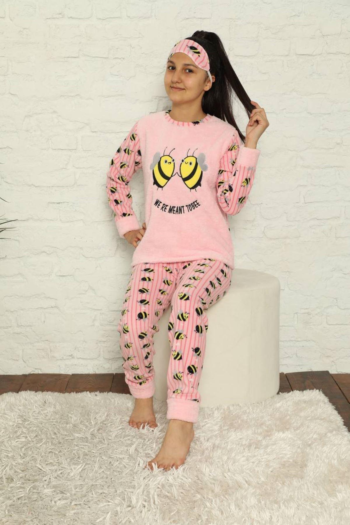 Kız Çocuk Pembe Desenli Kışlık Polar Pijama Takımı 13F-20026