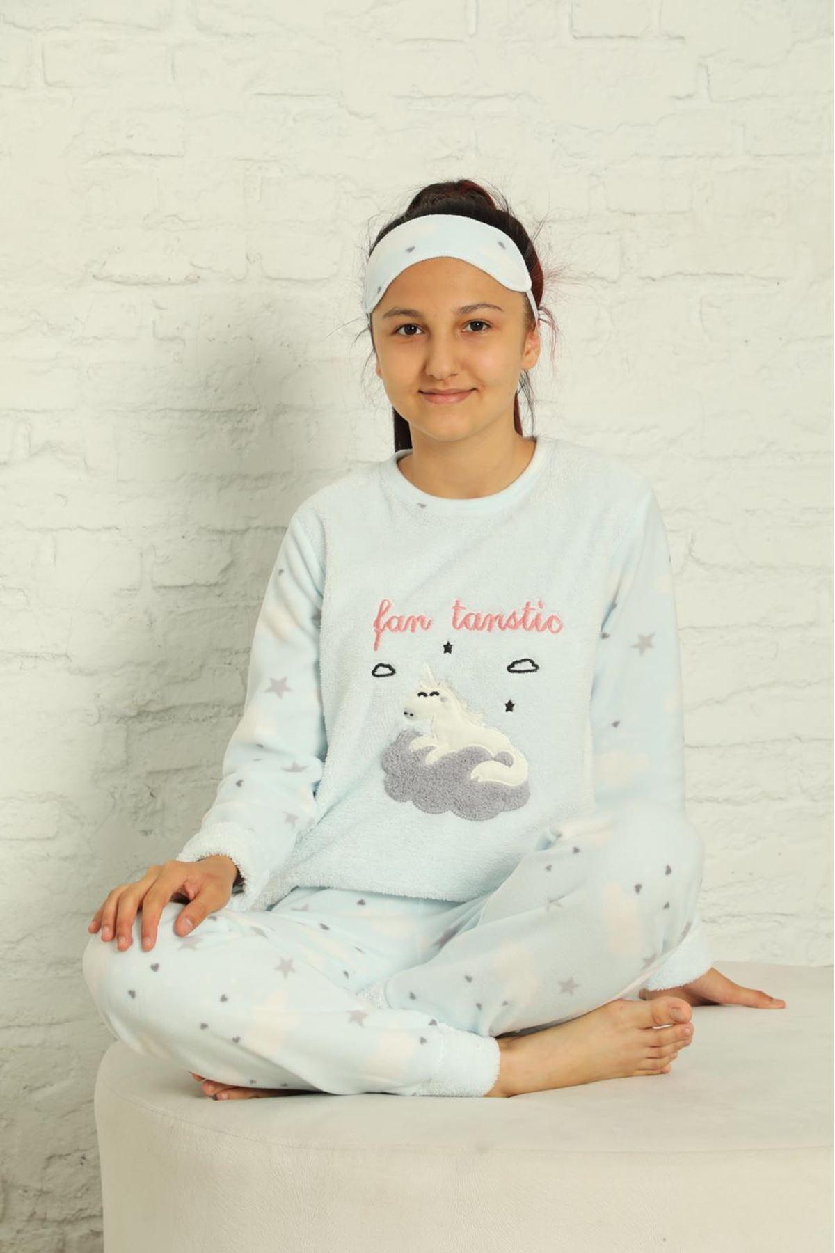 Kız Çocuk Açık Mavi Desenli Kışlık Polar Pijama Takımı 12F-20039-1