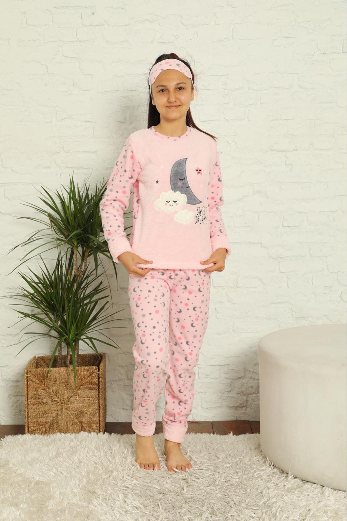 Kız Çocuk Pembe Desenli Kışlık Polar Pijama Takımı 13F-20040