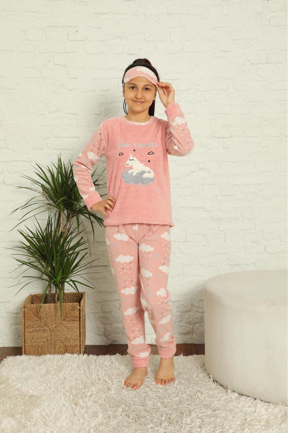Kız Çocuk Pembe Desenli Kışlık Polar Pijama Takımı 13F-20039