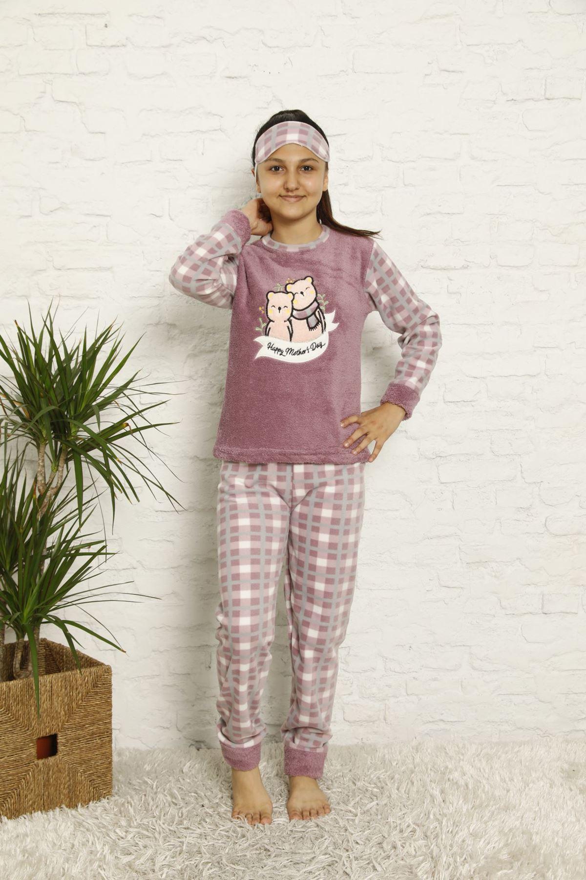 Kız Çocuk Mor Desenli Kışlık Polar Pijama Takımı 13F-20046