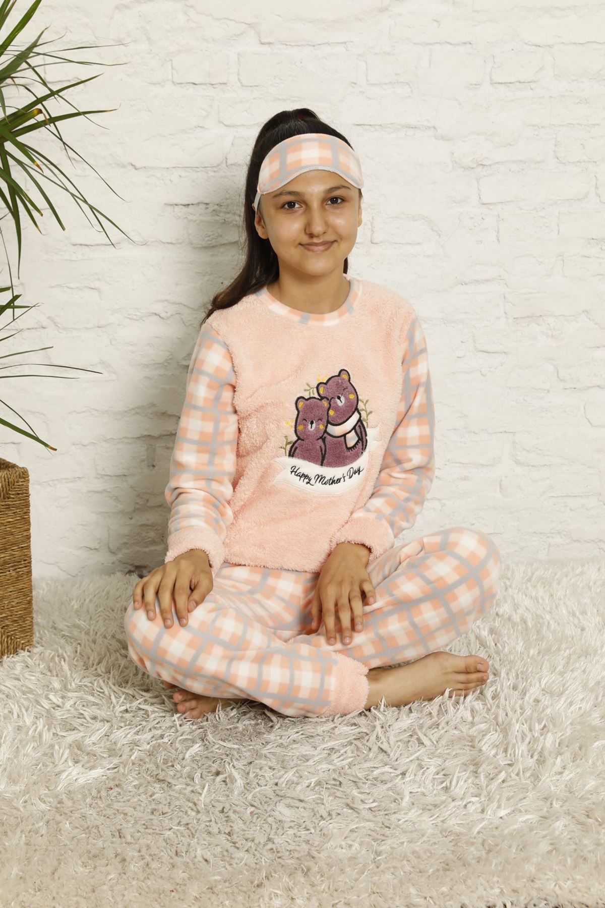 Kız Çocuk Somon Pembe Desenli Kışlık Polar Pijama Takımı 13F-20046-1