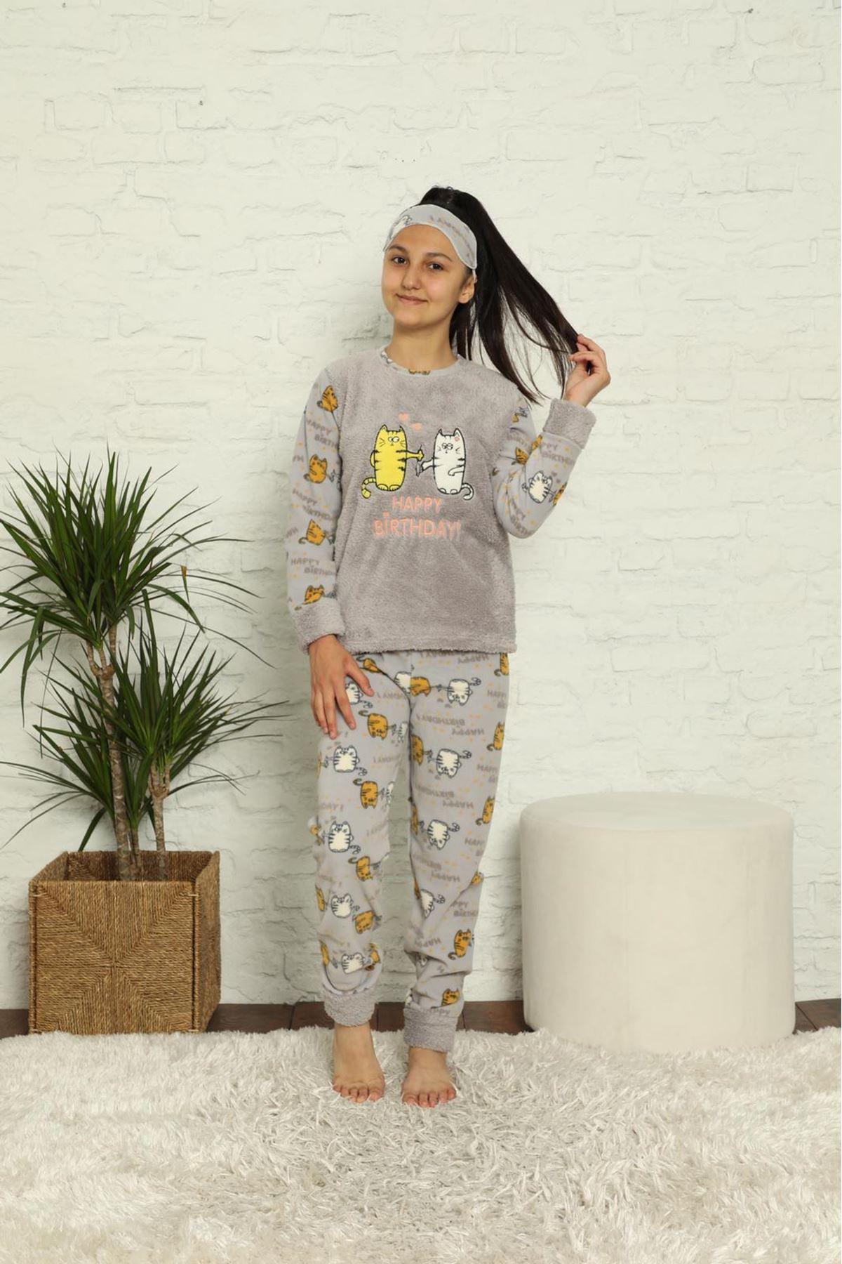 Kız Çocuk Gri Desenli Kışlık Polar Pijama Takımı 12F-20025