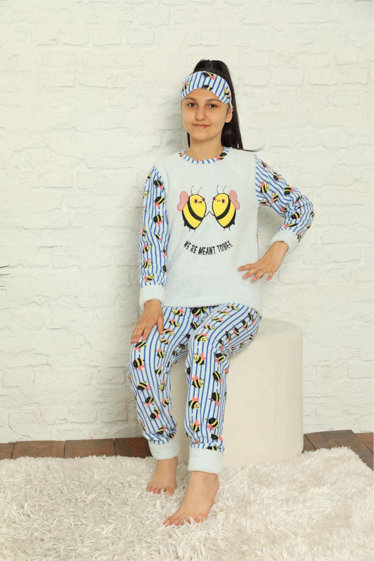 Kız Çocuk Mavi Desenli Kışlık Polar Pijama Takımı 12F-20026-1