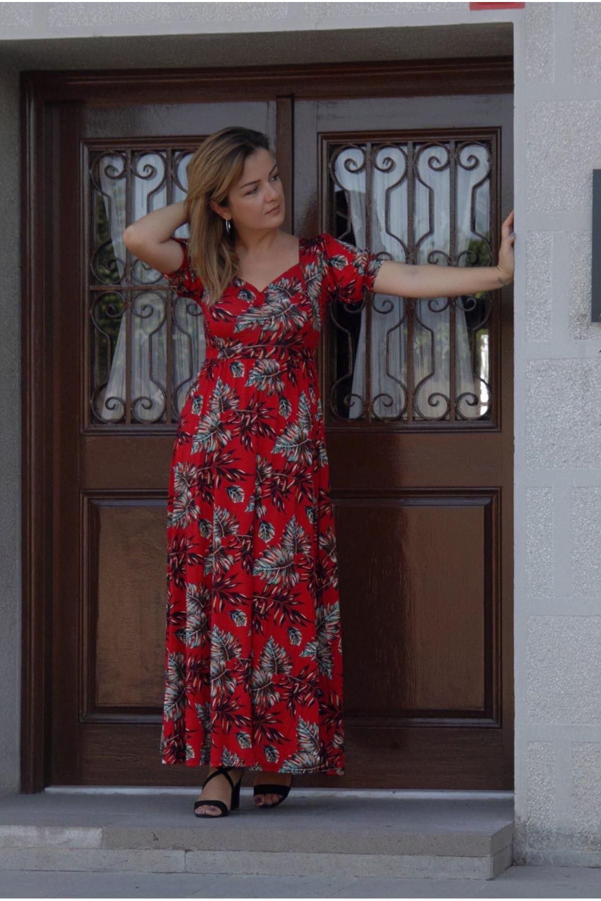 Kadın Kırmızı Desenli Öpücük Yaka Karpuz Kol Uzun Elbise 17D-4059