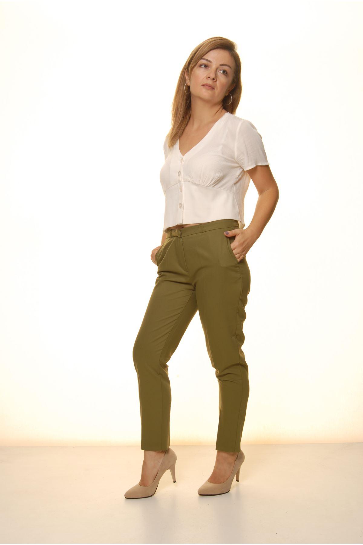 Kadın Haki Mevsimlik Yüksek Bel Kumaş Pantolon 16E-4049