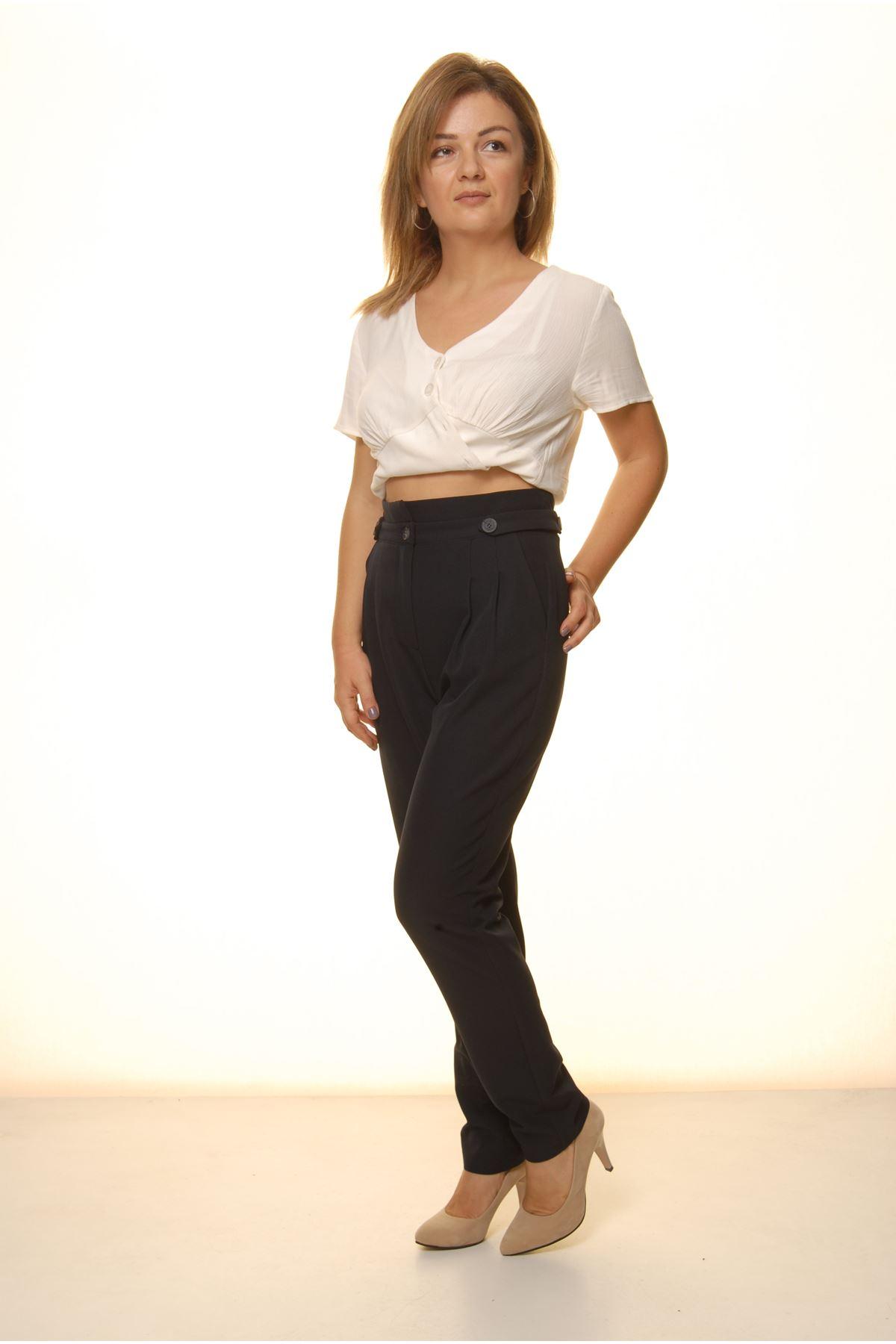 Kadın Lacivert Yüksek Bel Kumaş Pantolon 9C-4047