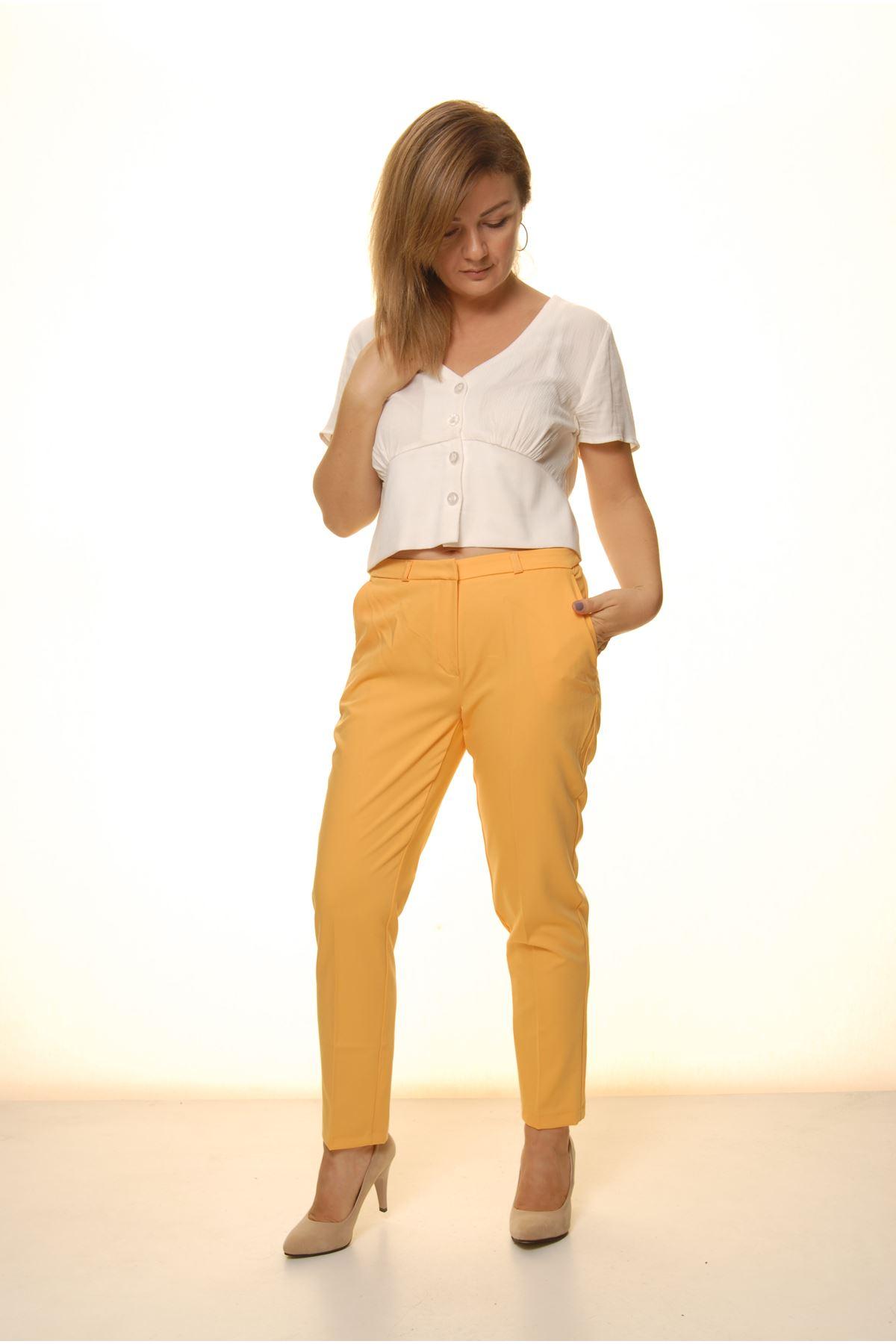 Kadın Hardal Sarı Mevsimlik Yüksek Bel Kumaş Pantolon 16D-4059