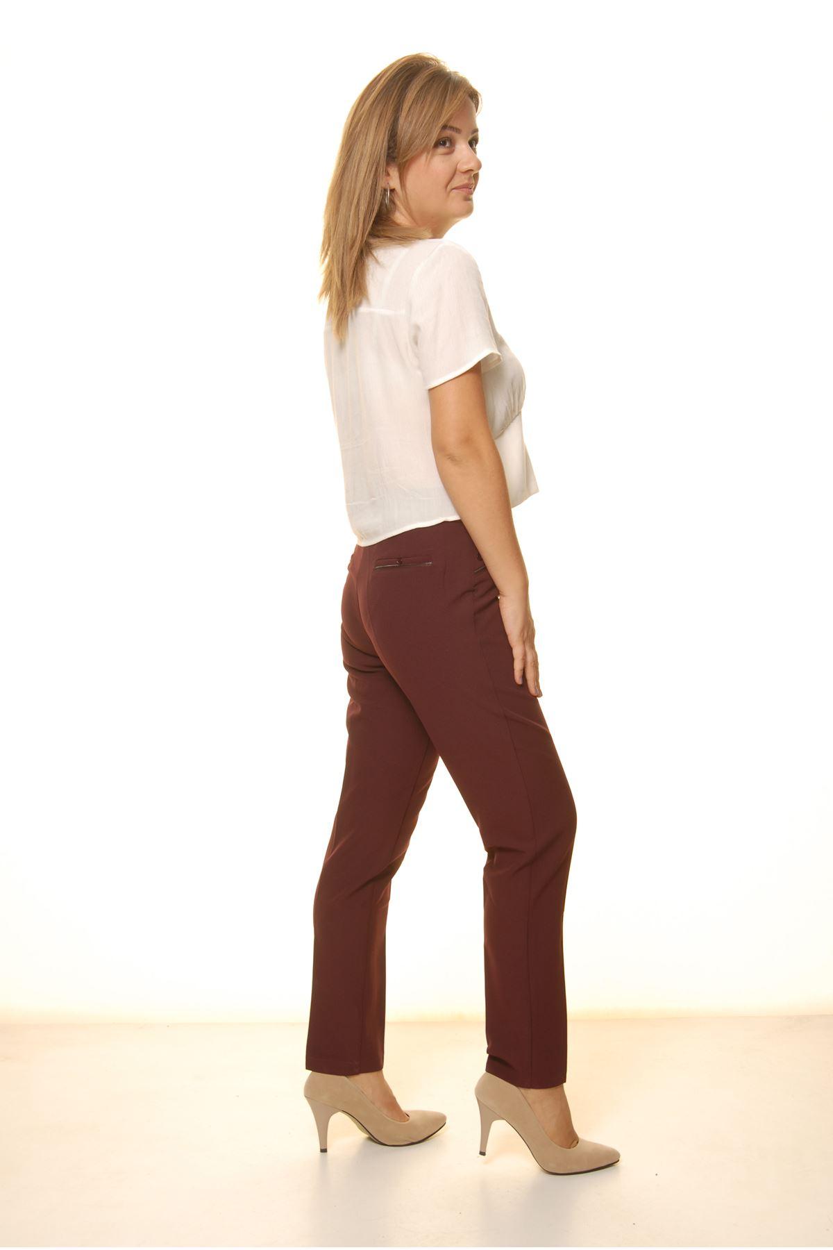 Kadın Bordo Yüksek Bel Kumaş Pantolon 16D-4056