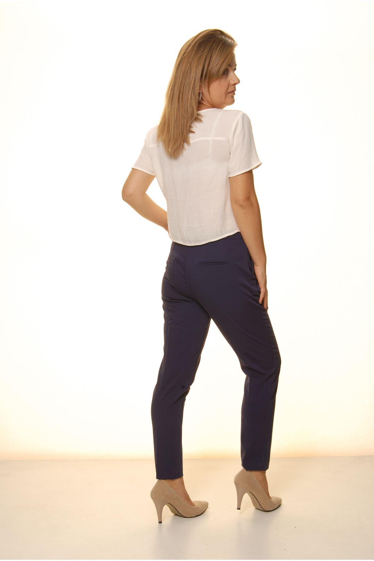 Kadın Lacivert Mevsimlik Yüksek Bel Kumaş Pantolon 16D-4057-1