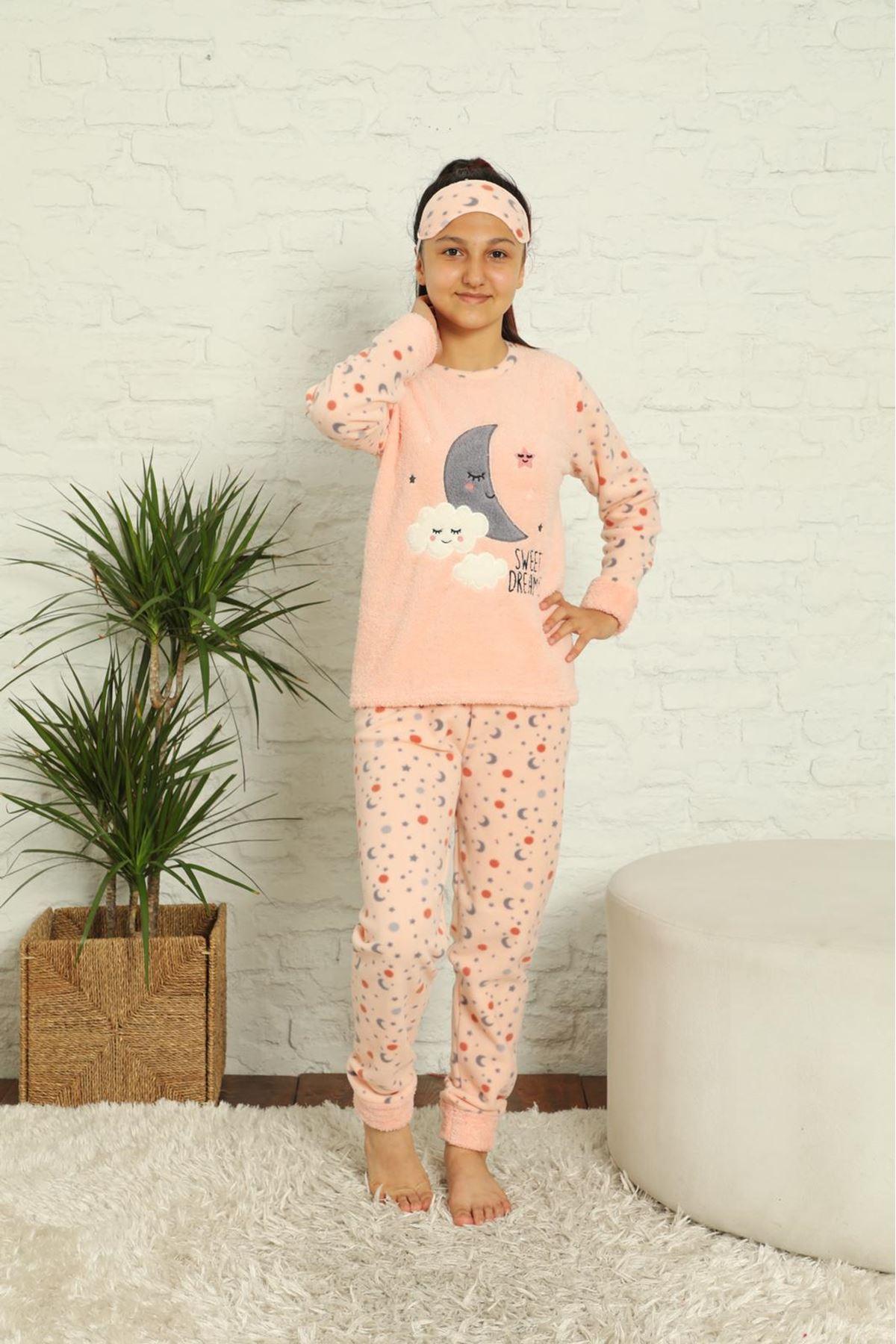Kız Çocuk Somon Pembe Desenli Kışlık Polar Pijama Takımı 13F-20040-1