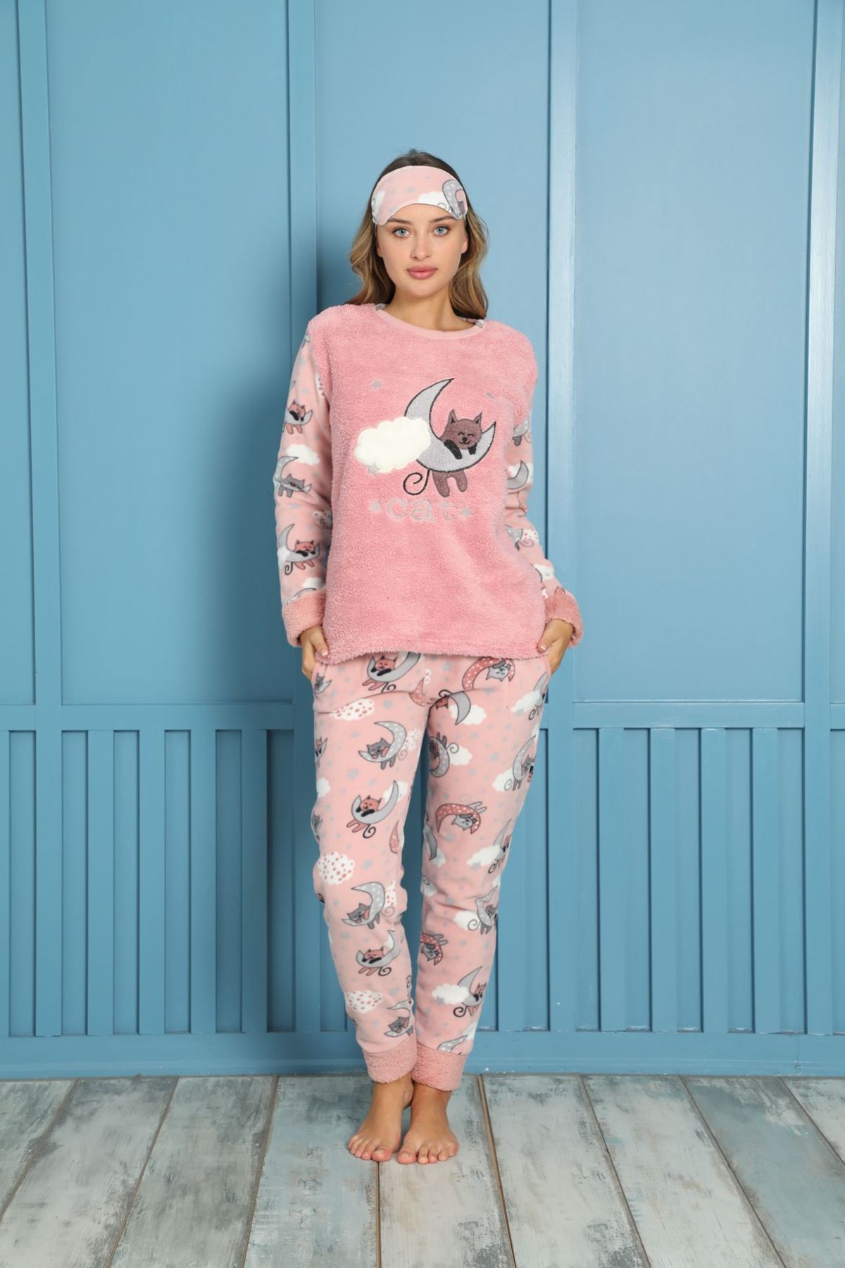 Kadın Desenli Kışlık Polar Pijama Takımı 7F-20073