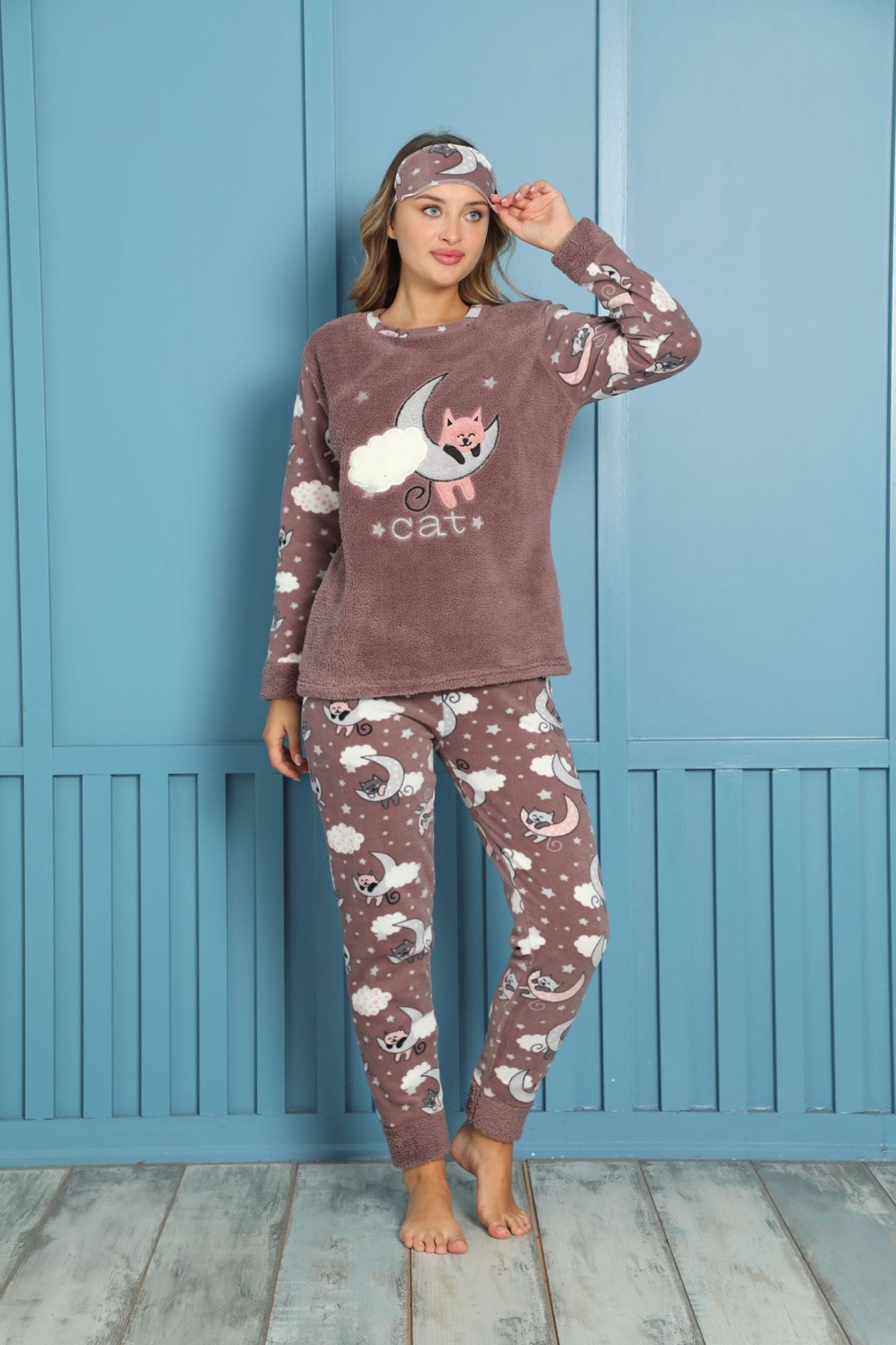 Kadın Desenli Kışlık Polar Pijama Takımı 7F-20073-1
