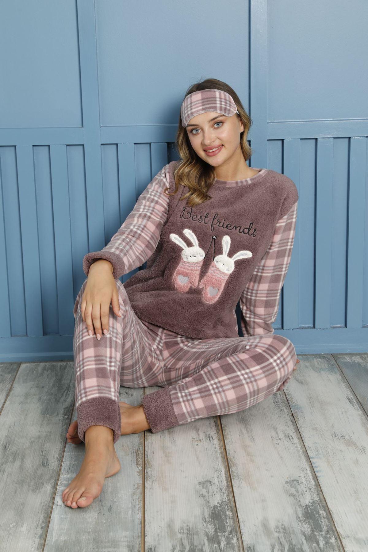 Kadın Desenli Kışlık Polar Pijama Takımı 1F-20080