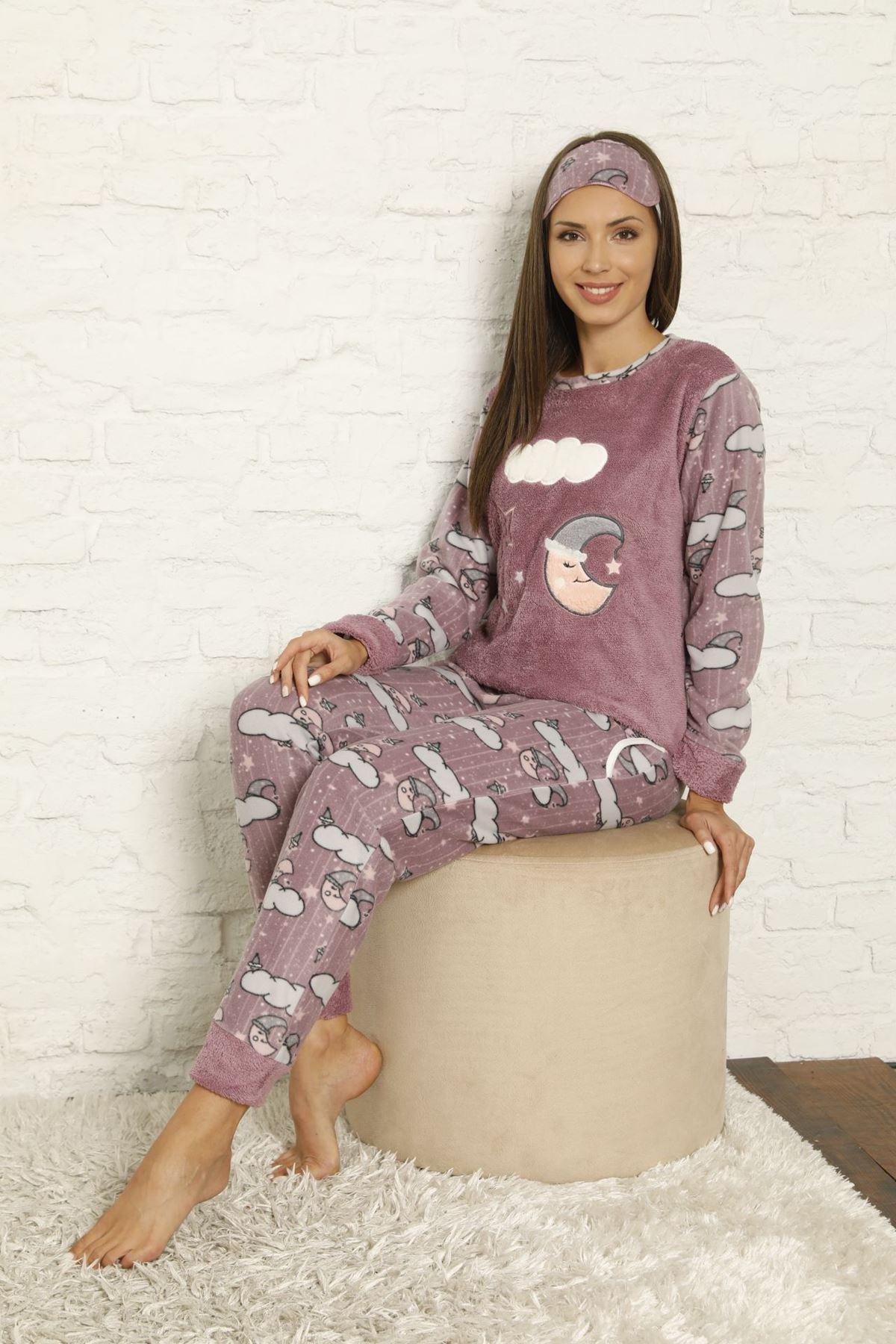 Kadın Desenli Kışlık Polar Pijama Takımı 6F-20043