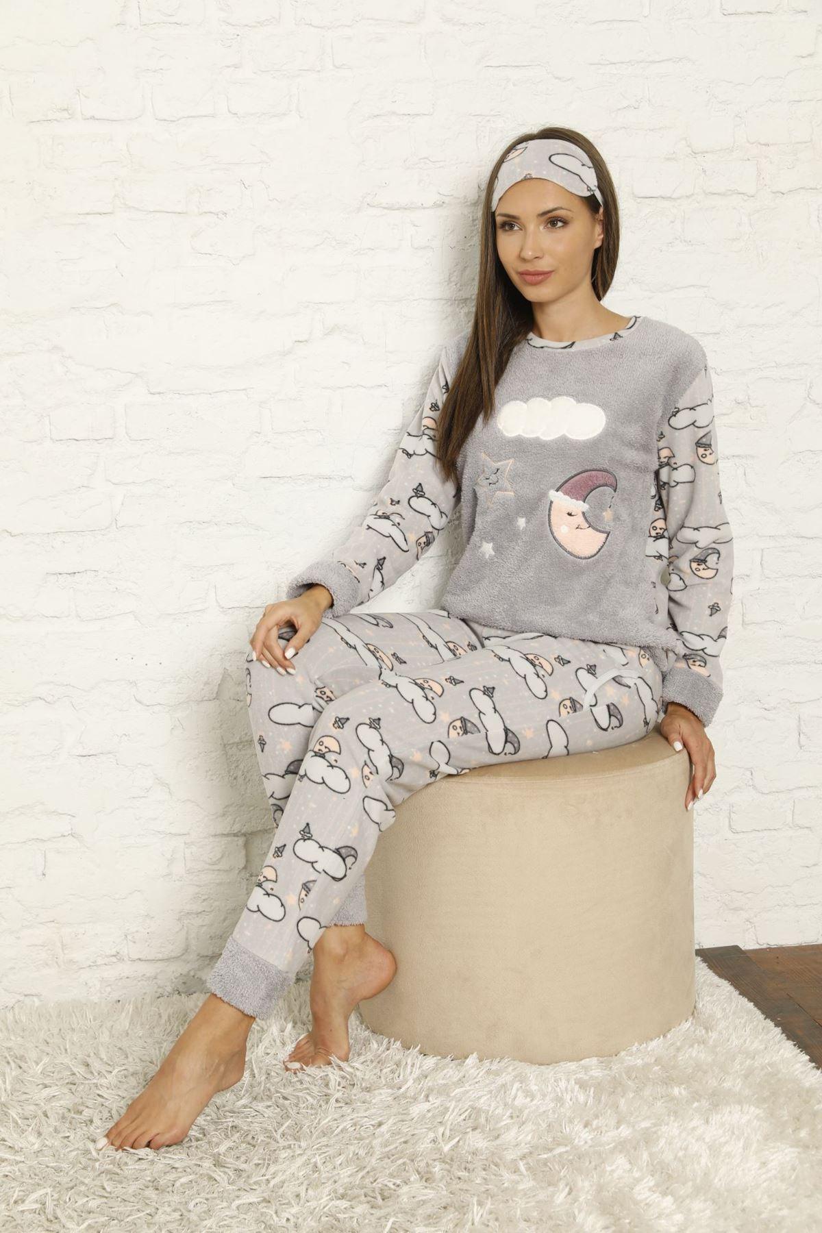 Kadın Desenli Kışlık Polar Pijama Takımı 6F-20043-1