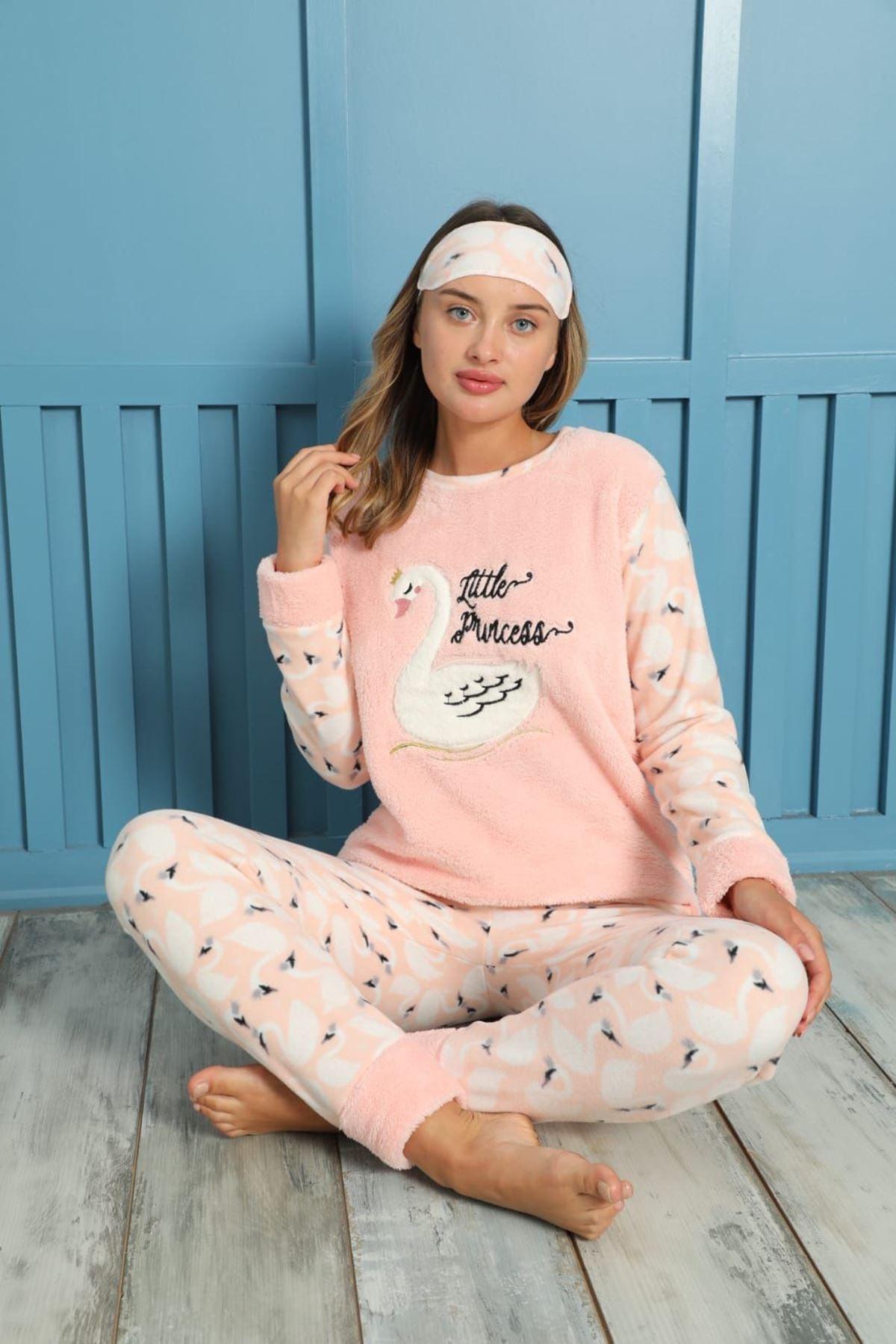 Kadın Desenli Kışlık Polar Pijama Takımı 1K-20076