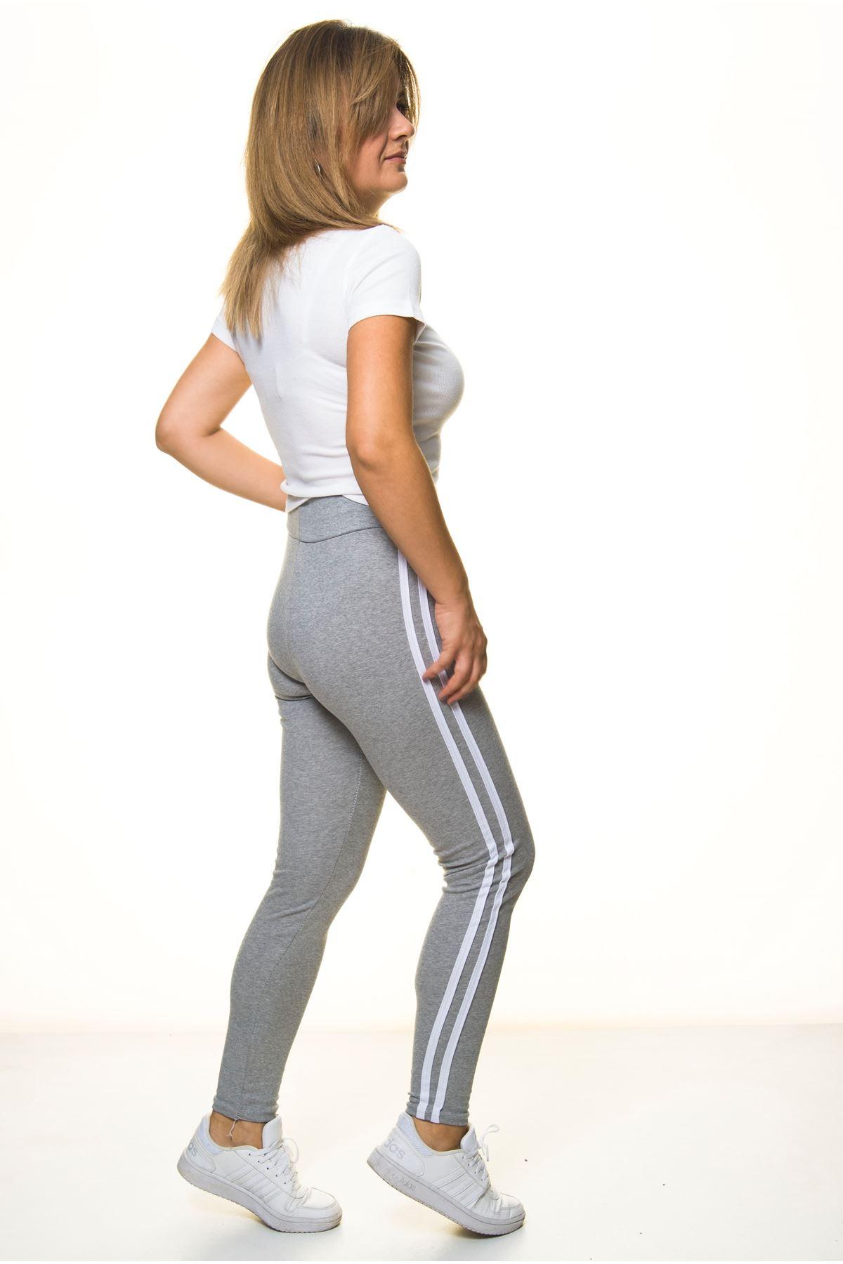 Kadın Spor Çizgili Gri Uzun Tayt 11E-4058