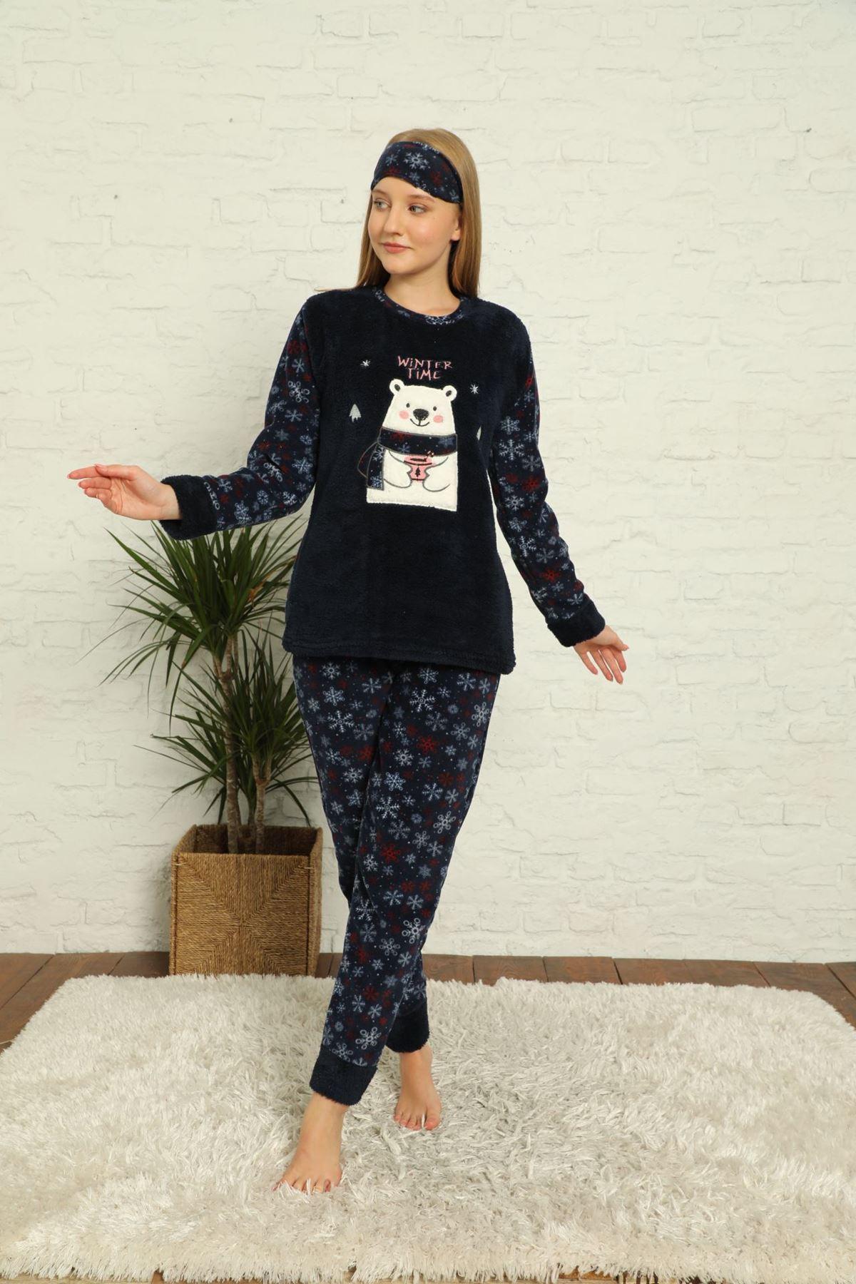 Kadın Lacivert Desenli Kışlık Polar Pijama Takımı 6E-20035