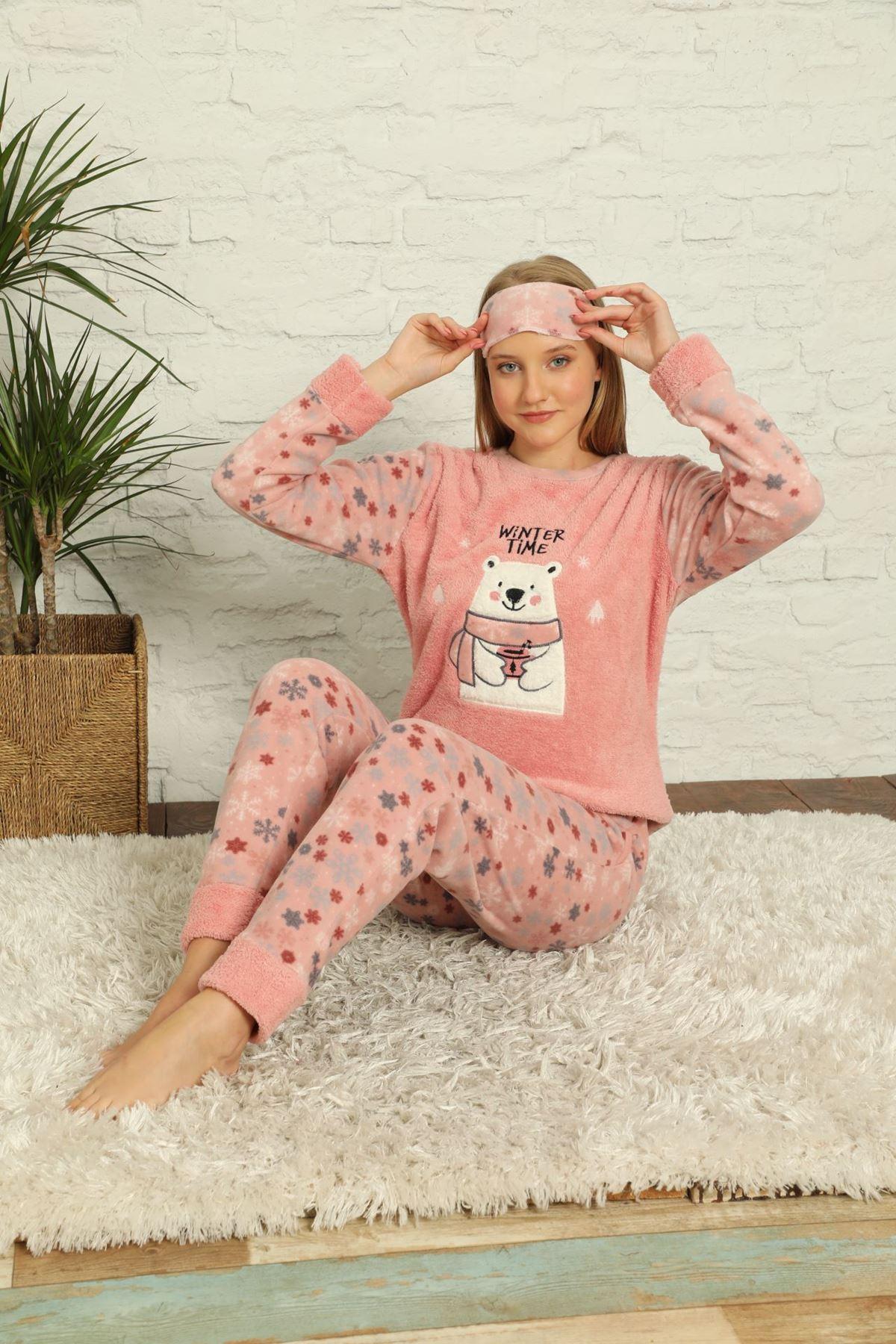 Kadın Pembe Desenli Kışlık Polar Pijama Takımı 6E-20035-1