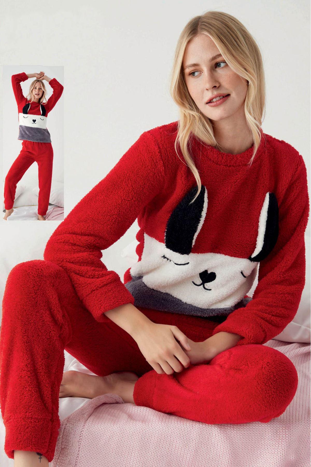 Kadın Sevimli Kırmızı Crop Kışlık Tam Peluş Takım 12K-1020K