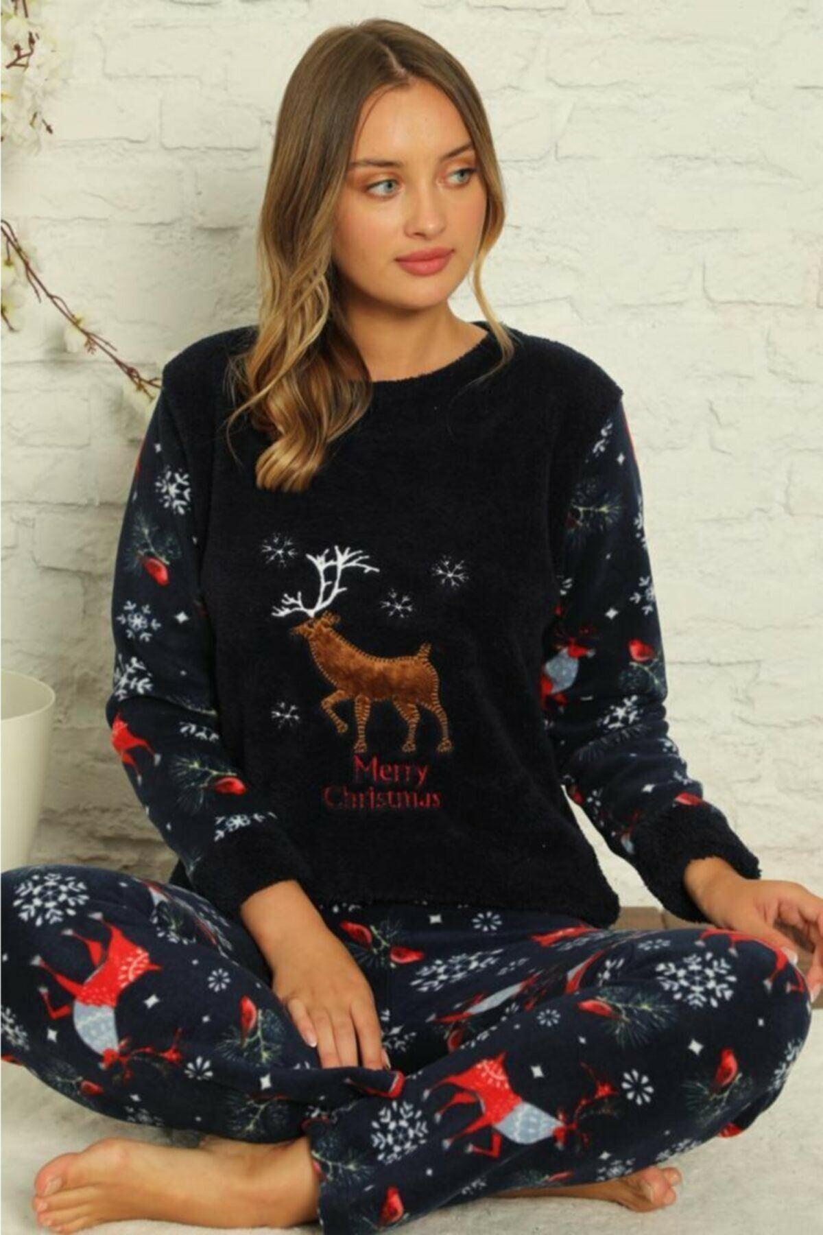 Kadın Desenli Kışlık Polar Pijama Takımı 2F-1852