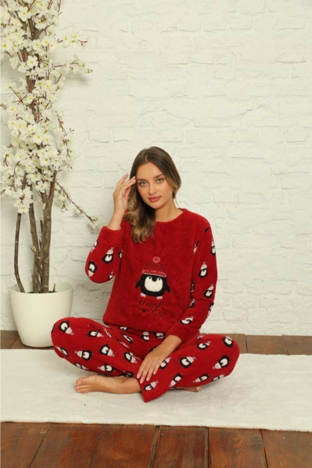 Kadın Desenli Kışlık Polar Pijama Takımı 2F-1851
