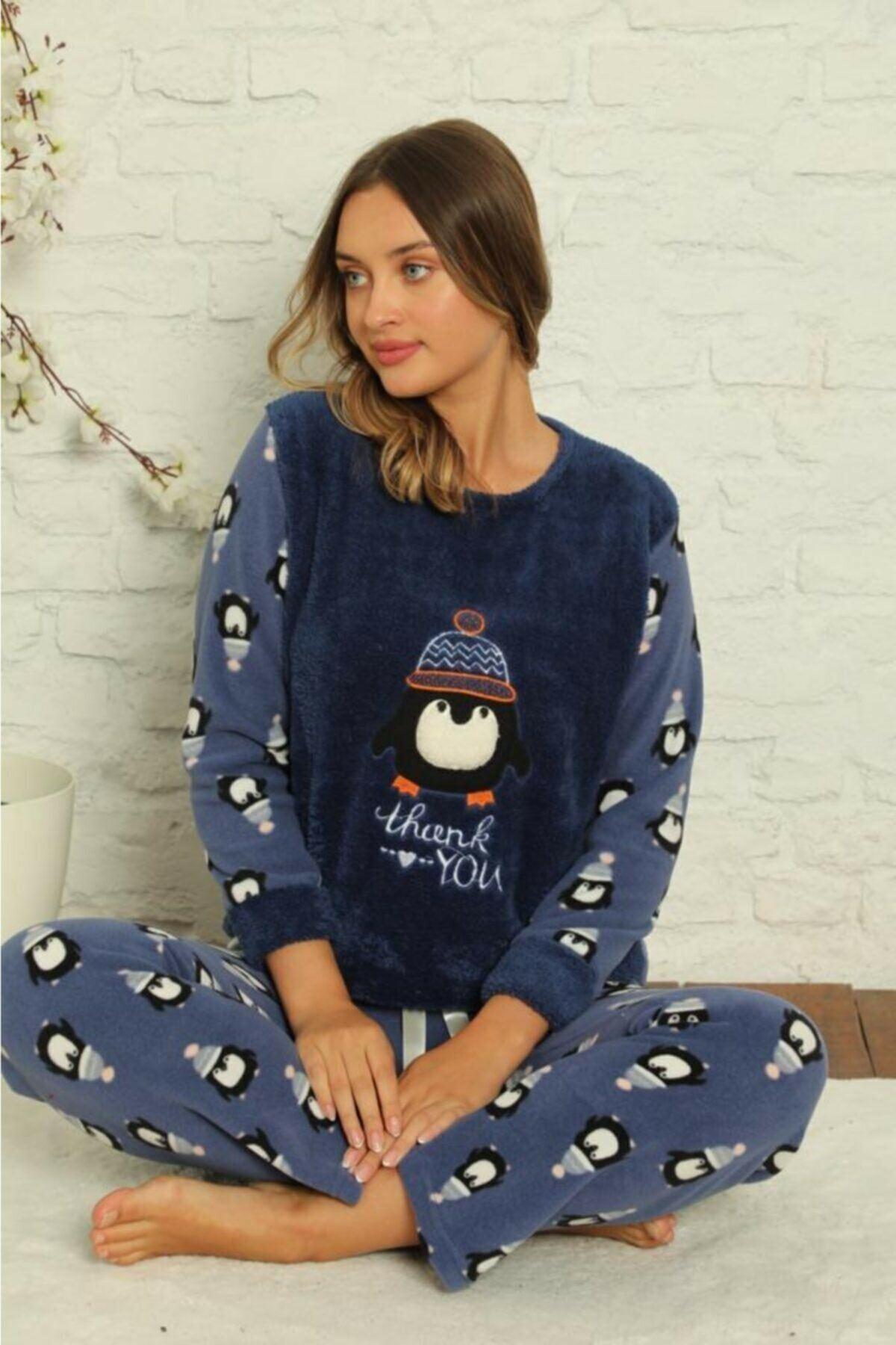 Kadın Desenli Kışlık Polar Pijama Takımı 1F-1851-2